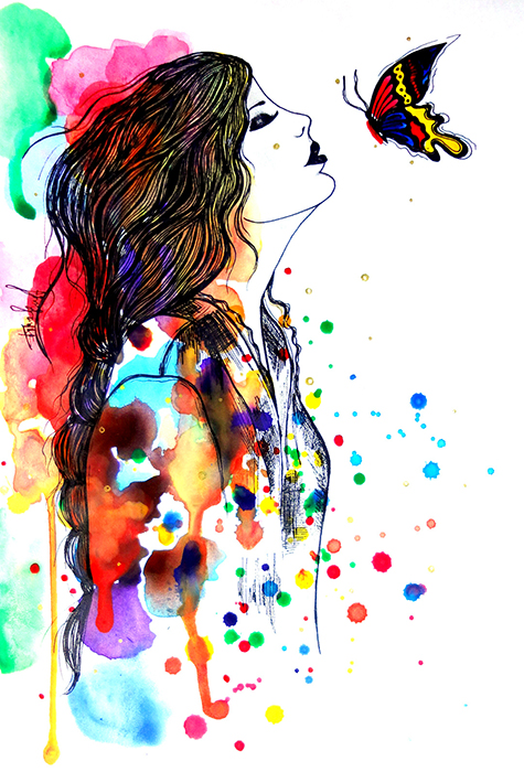 Авторская картина Поцелуй бабочки. Графика, 30 х 20 см. Художник Ирина БастАКГПБКартина-миниатюра Поцелуй бабочки. Fashion illustration. Легкая графика, созданная акварельными красками и простыми карандашами.Акварельная бумага, акварельные краски, простой карандашКартина не требует дополнительной защиты, ее достаточно повесить на стену. Оформления не нужно. Ронять не рекомендуется.
