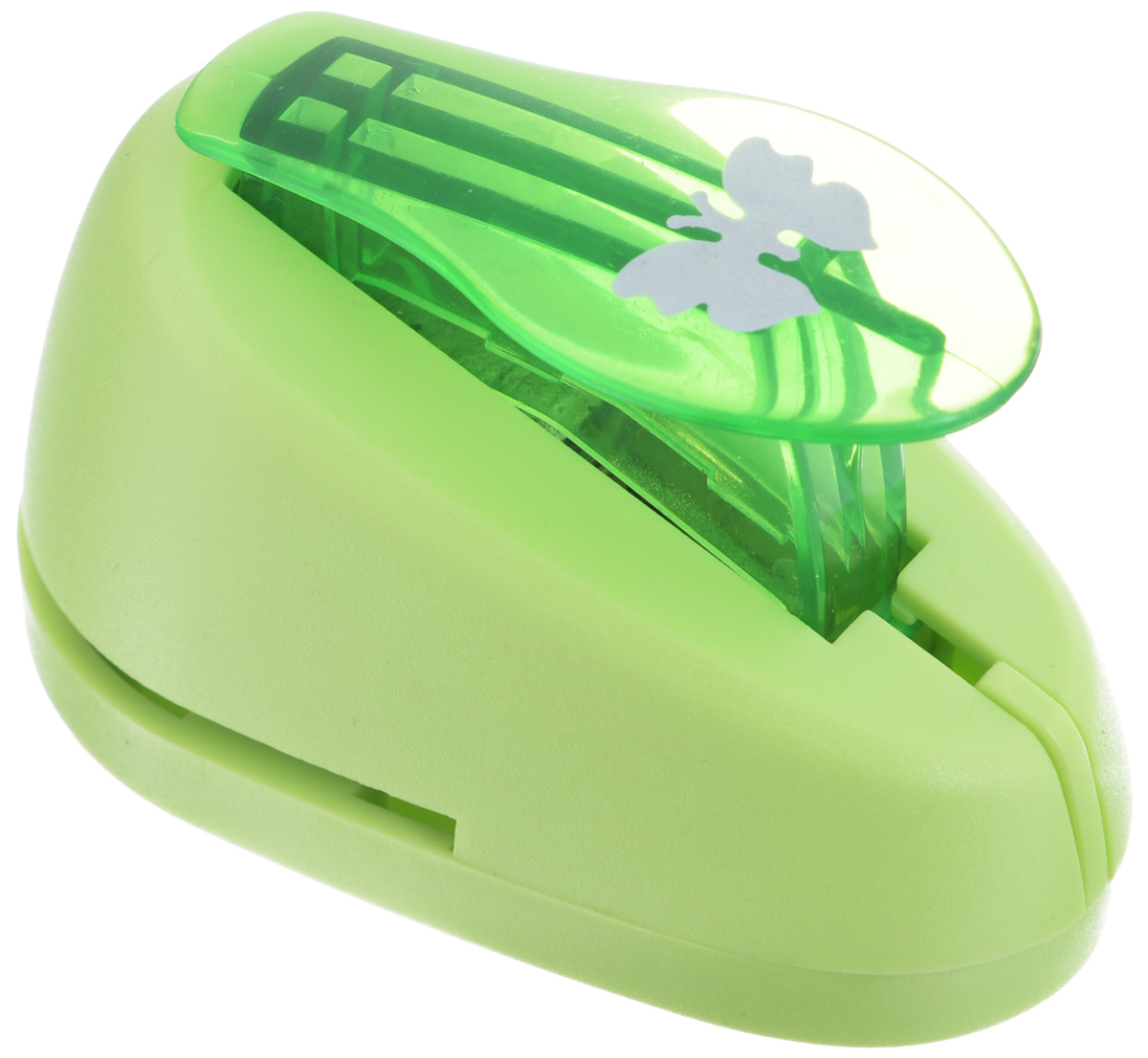 Дырокол фигурный Hobbyboom Бабочка, №327, цвет: зеленый, 1,8 см х 1,3 смCD-99S-327_зеленыйФигурный дырокол Hobbyboom Бабочка предназначен для создания творческихработ в технике скрапбукинг. С его помощью можно оригинально оформитьоткрытки, украсить подарочные коробки, конверты, фотоальбомы.Дырокол вырезает из бумаги идеально ровные фигурки в виде бабочек, такжеиспользуется для прорезания фигурных отверстий в бумаге.Предназначен для бумаги определенной плотности - до 200 г/м2. При применениина бумаге большей плотности или на картоне дырокол быстро затупится. Чтобызаточить нож компостера, нужно прокомпостировать самую тонкую наждачку.Чтобы смазать режущий механизм - парафинированную бумагу.Порядок работы: вставьте лист бумаги или картона в дырокол и надавите рычаг. Размер вырезаемой части: 1,8 см х 1,3 см.
