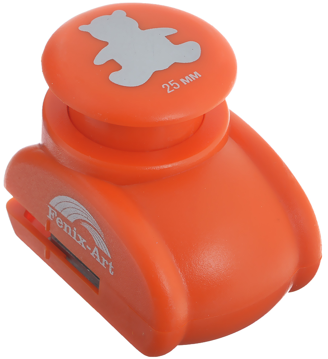 Дырокол фигурный Феникс+ Медвежонок, цвет: оранжевый37199Дырокол фигурный Феникс+ Медвежонок поможет вам легко, просто и аккуратно вырезать много одинаковых мелких фигурок. Режущие части компостера закрыты пластмассовым корпусом, что обеспечивает безопасность для детей. Можно использовать вырезанные мотивы как конфетти или для наклеивания.Дырокол подходит для разных техник: декупажа, скрапбукинга, декорирования.Размер дырокола: 6,25 см х 4,4 см х 4,9 см.Размер готовой фигурки: 2,5 см.