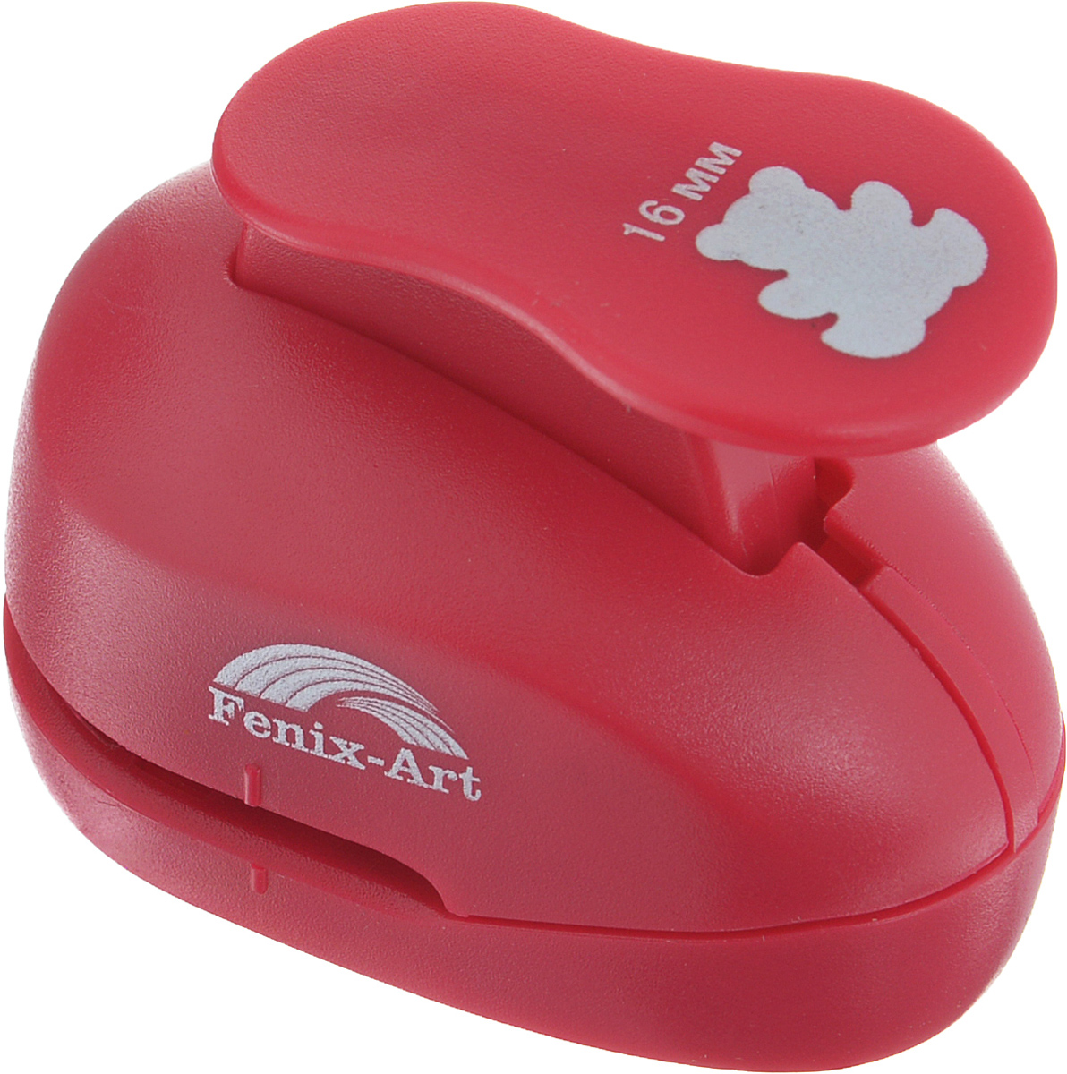Дырокол фигурный Феникс+ Медвежонок, цвет: красный. 3718137181Дырокол фигурный Феникс+ Медвежонок поможет вам легко, просто и аккуратно вырезать много одинаковых мелких фигурок.Режущие части компостера закрыты пластмассовым корпусом, что обеспечивает безопасность для детей. Можно использовать вырезанные мотивы как конфетти или для наклеивания.Дырокол подходит для разных техник: декупажа, скрапбукинга, декорирования.Размер дырокола: 6,5 см х 3,9 см х 5 см.Размер готовой фигурки: 1,6 см.
