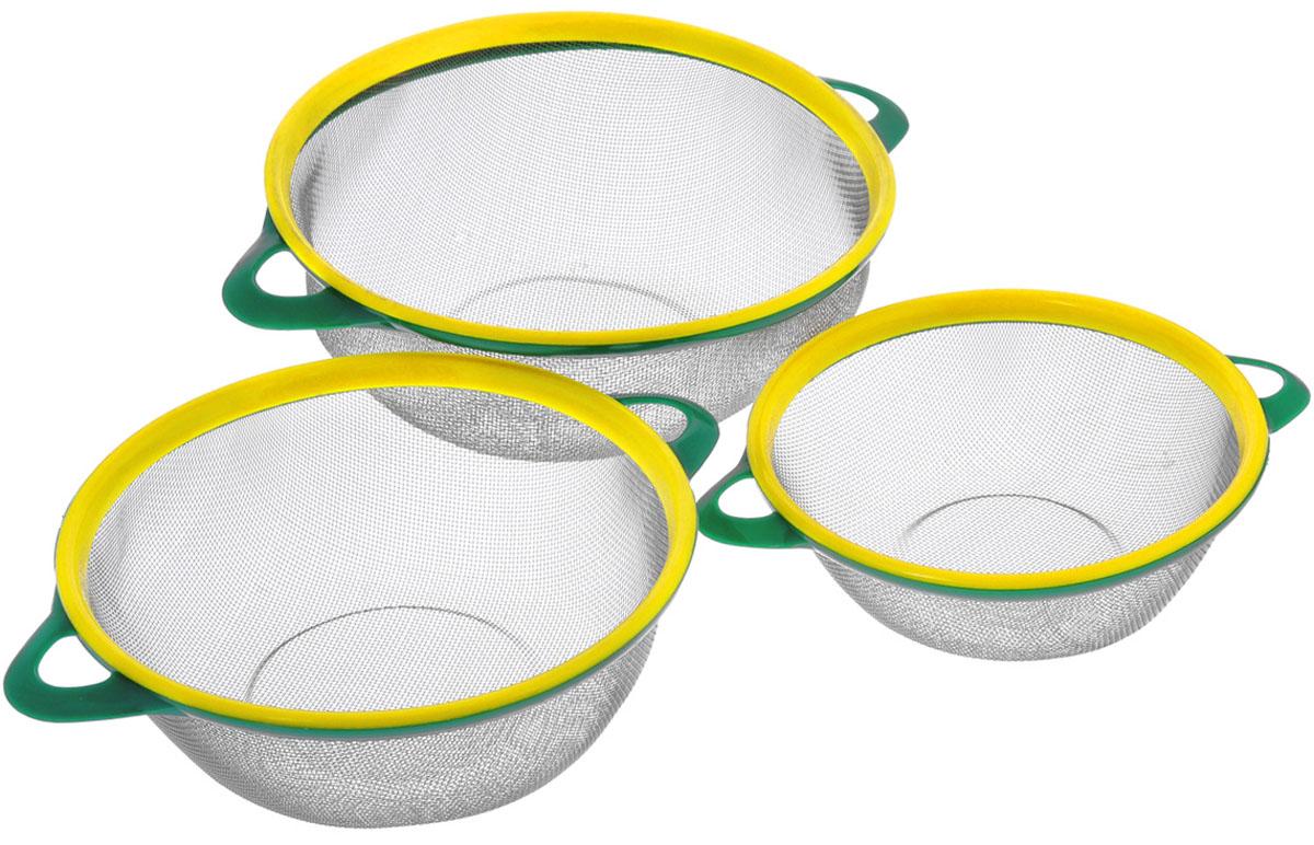 Сито Bekker, цвет: зеленый, желтый, 3 шт. BK-9224BK-9224_зеленый/желтыйВ набор Bekker входит 3 сита разного диаметра, выполненных из нержавеющей стали. Сито станет незаменимым аксессуаром на вашей кухне. Предназначено для просеивания и процеживания муки, промывания круп, ягод и фруктов. Сито оснащено удобными пластиковыми ручками. Прочная стальная сетка обеспечивает изделию износостойкость и долговечность. Подходит для чистки в посудомоечной машине.Диаметр изделий: 26 см, 22,5 см, 20см.Высота изделий: 10 см, 9 см, 6,5 см.Ширина изделий (с учетом ручек): 32,5 см, 29 см, 25 см.