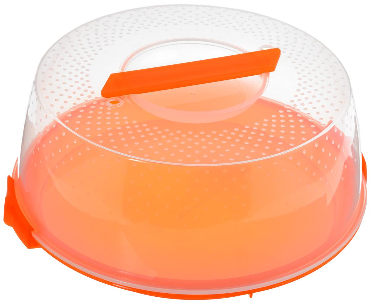Тортница Cosmoplast Оазис, цвет: оранжевый, прозрачный, диаметр 28 см2127_оранжевыйТортница Cosmoplast Оазис, изготовленная из высококачественного прочного пищевого пластика, имеет удобную ручку для переноски и прочные фиксаторы крышки. Может использоваться в микроволновой печи и морозильной камере (выдерживает температуру от -30°С до +110°С). Очень гигиенична и легко моется. Можно мыть в посудомоечной машине. Диаметр тортницы: 28 см. Внутренний диаметр тортницы: 26 см. Высота тортницы: 12 см.