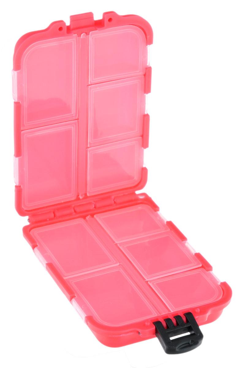 Органайзер для мелочей, двухсторонний, цвет: коралловый, 9,5 х 6 х 2,5 см679531_яркий кораллУдобная пластиковая коробка Три кита прекрасно подойдет для хранения и транспортировки различных мелочей: рыболовных снастей, мелких бусин, аксессуаров для рукоделия и многого другого. Коробка имеет 10 фиксированных секций, каждая из которых закрывается прозрачной крышечкой. Удобный замок обеспечивает надежное закрывание коробки. Такая коробка поможет хранить мелкие вещи в порядке.Размер секций: 4 х 2,5 см; 3 х 2,5 см; 2,5 х 2,5 см.