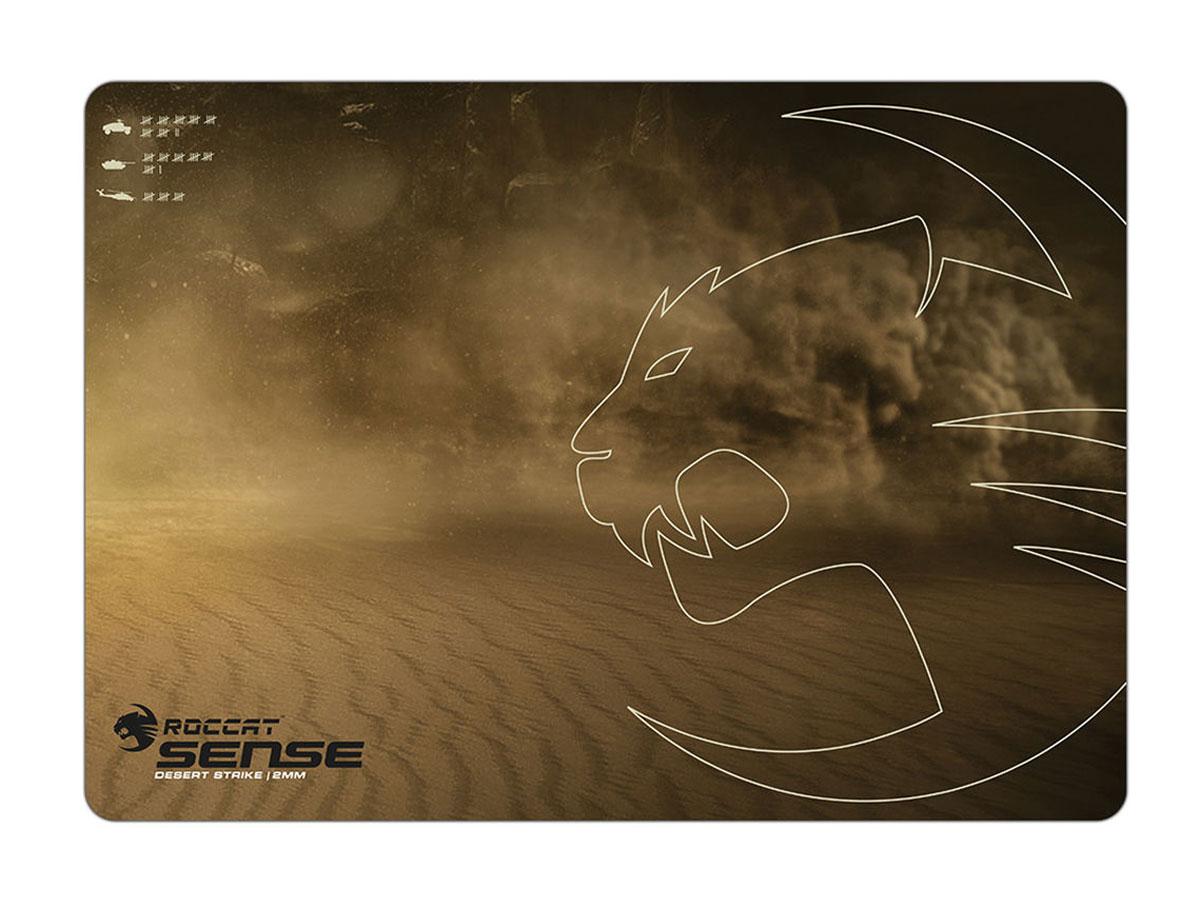 ROCCAT Sense Desert Strike коврик для мышиROC-13-107Серия игровых ковриков для мыши ROCCAT Sense популярна среди геймеров. Соединив мягкую ткань для точности со специальным микрокристаллическим покрытием, в ROCCAT добились уникального сочетания контроля и фантастической скорости передвижения мыши.Игровой коврик очень тонкий, но при этом достаточно вместительный. Всего 2 мм толщины играют важную роль для геймеров. Ультрамягкий материал коврика Sense накладывается на точно выверенную комбинацию решений по обеспечению максимальной скорости, эффективного управления и эргономичного дизайна. Коврик для мыши Sense - тонкий, прочный, надежно закрепленный на поверхности стола, гарантирующий оптимальное скольжение мыши и максимальное владение ситуацией - незаменимое оружие на поле боя.Для того, чтобы снарядить бойцов для нелегкой схватки, инженеры ROCCAT создали верхнюю часть коврика Sense из сверхмягкого материала с микрокристаллическим покрытием, которое практически устраняет трение. Такое сочетание материалов гарантирует молниеносную скорость мыши в любых ситуациях.C площадью управления 400 x 280 мм коврик Sense предоставляет полную свободу действий даже самым активным игрокам. Какой бы лихорадочной ни становилась перестрелка, коврик Sense не сдвинется с места. Это возможно благодаря прорезиненной основе с диагональным шевронным переплетением, обеспечивающим надежное сцепление коврика с поверхностью стола и исключающим его скольжение. Вам больше не придется беспокоиться о потере контроля над ситуацией из-за досадных самопроизвольных скольжений коврика, что позволяет вам полностью сосредоточиться на реализации своих боевых тактических приемов.