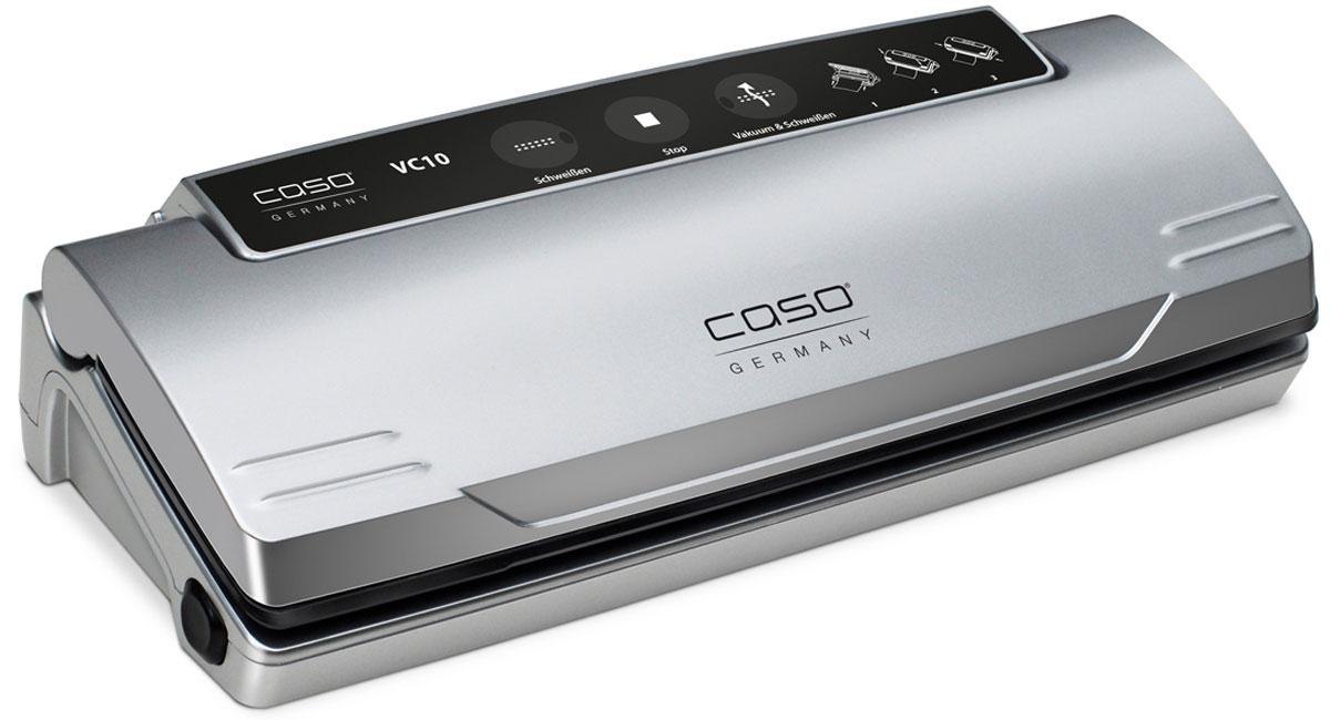 CASO VC 10 вакуумный упаковщикVC 10CASO VC 10 -вакуумный упаковщик для надежного хранения пищевых продуктов (как мяса и рыбы, так и овощей и фруктов) без потери их питательных свойств. Полностью автоматическая система вакуумирования обеспечивает оптимальную свежесть упакованных продуктов. Прибор оснащен электронным контролем температуры сварного шва. Имеется также кнопка остановки насоса для нежных продуктов. Подходит для пакетов шириной до 28 см.