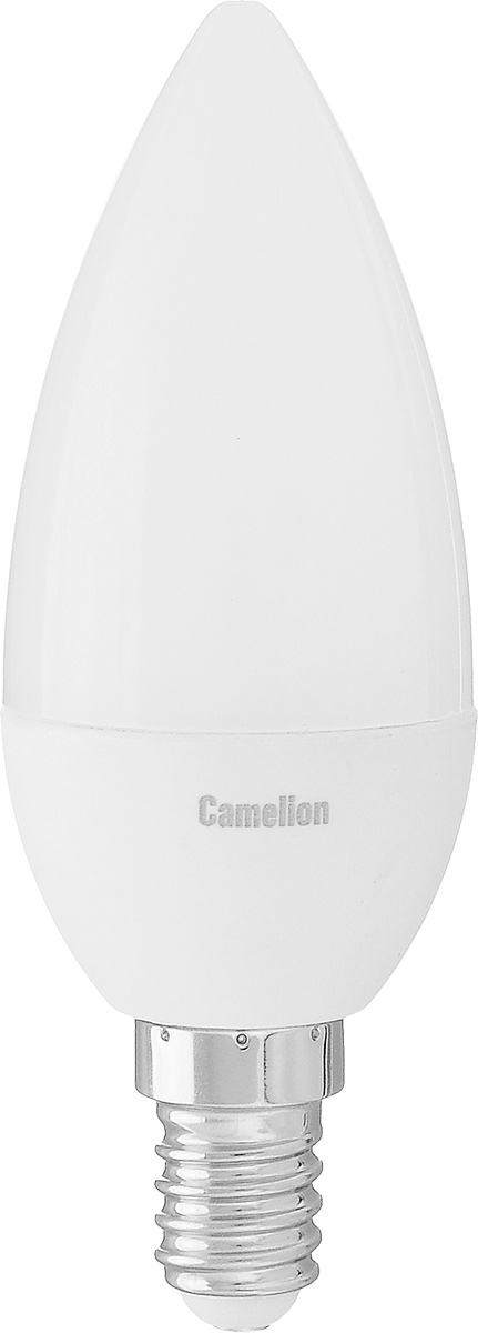 Лампа светодиодная Camelion, теплый свет, цоколь Е14, 5W5-C35/830/E14Энергосберегающая лампа Camelion - это инновационное решение, разработанное на основе новейших светодиодных технологий (LED) для эффективной замены любых видов галогенных или обыкновенных ламп накаливания во всех типах осветительных приборов. Она хорошо подойдет для освещения квартир, гостиниц и ресторанов. Лампа не содержит ртути и других вредных веществ, экологически безопасна и не требует утилизации, не выделяет при работе ультрафиолетовое и инфракрасное излучение. Напряжение: 220-240 В / 50 Гц.Индекс цветопередачи (Ra): 77+.Угол светового пучка: 220°. Использовать при температуре: от -30° до +40°.
