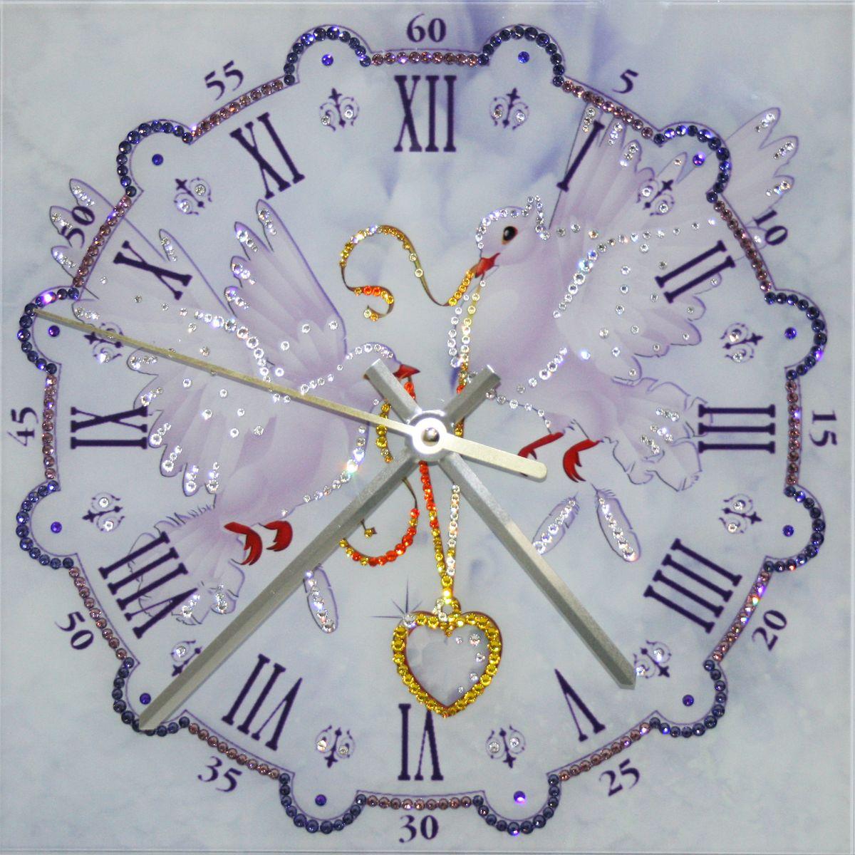 1648 Часы СваровскиЛюбовь и голуби1648Часы без багета, инкрустированные кристалами Сваровски.