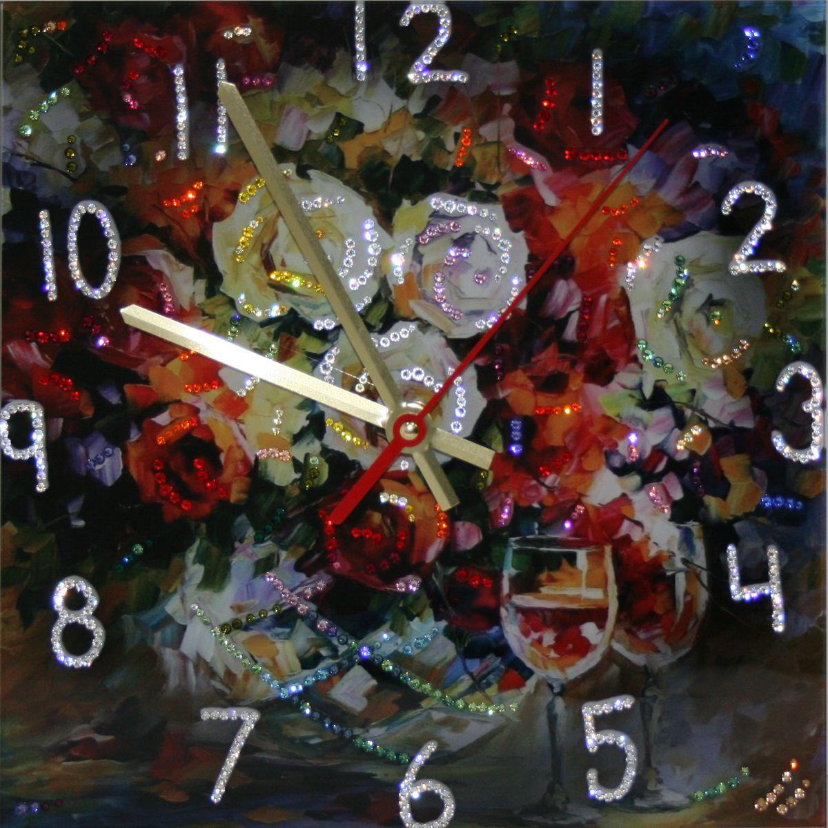 1662 Часы СваровскиРозы1662Часы без багета, инкрустированные кристалами Сваровски.