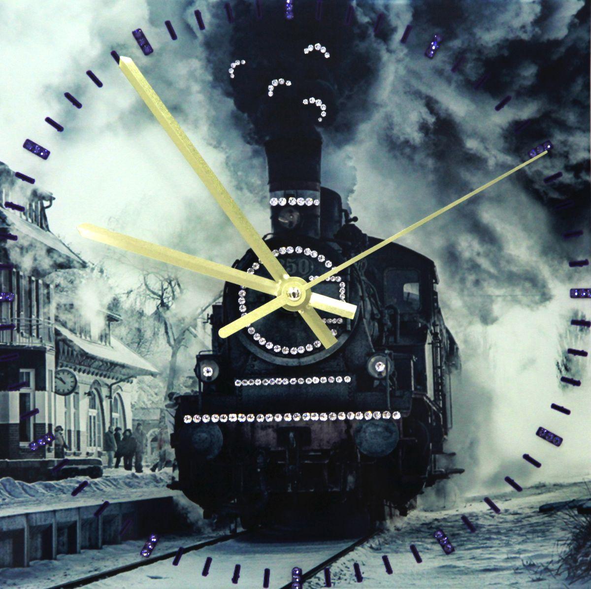 1672 Часы Сваровски СваровскиПаровоз1672Часы без багета, инкрустированные кристалами Сваровски.