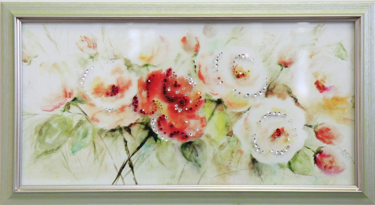 1697 Картина Сваровски Шиповника цвет1697Картина в багете, инкрустированная кристалами сваровски