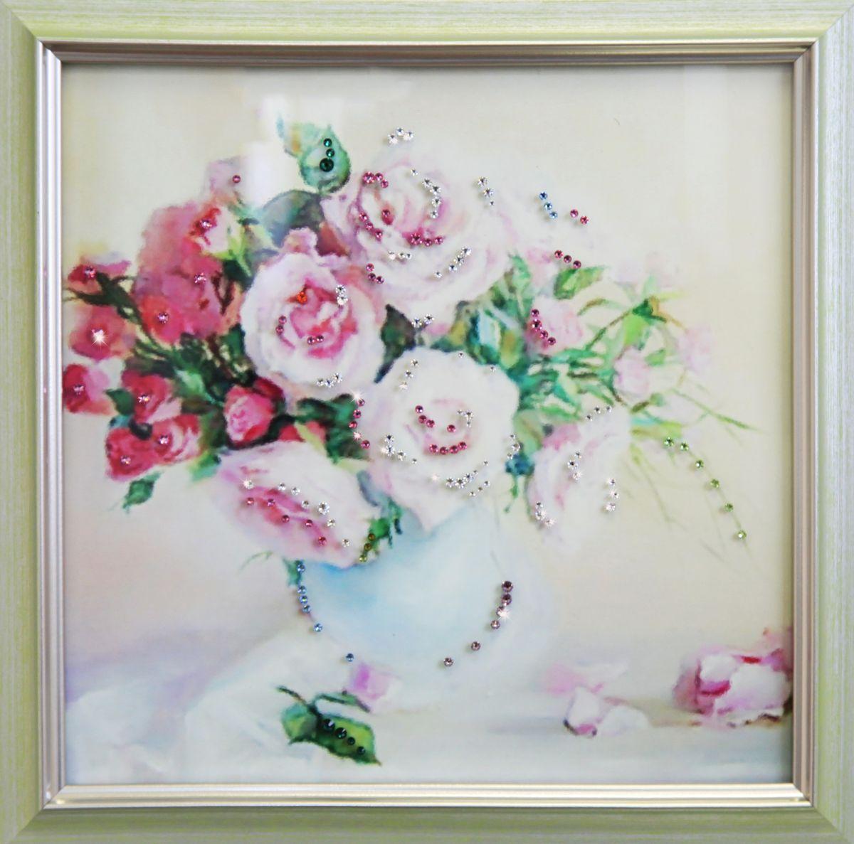 1700 Картина Сваровски Чайные розы1700Картина в багете, инкрустированная кристалами сваровски