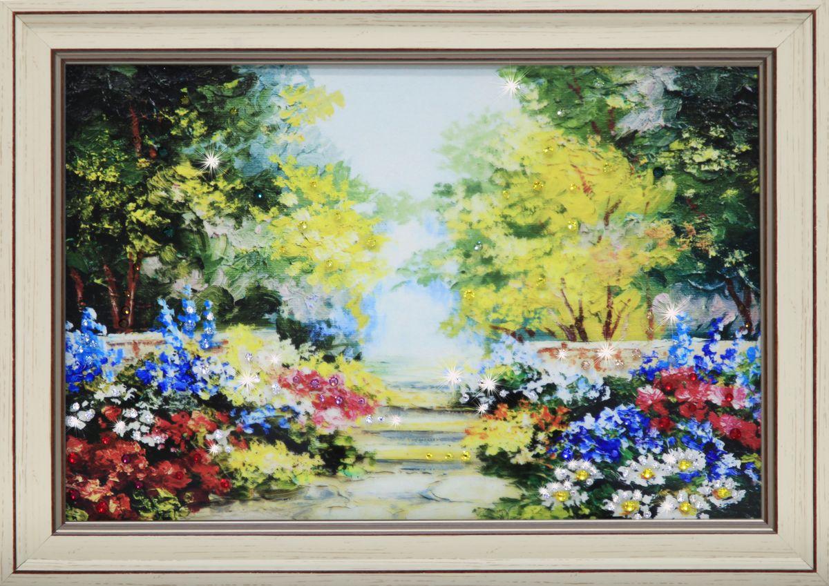 1688 Картина СваровскиЦветущий сад1688Картина в багете, инкрустированная кристалами сваровски