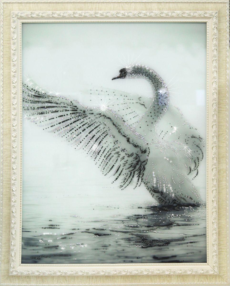 1702 Картина СваровскиБелый лебедь1702Картина в багете, инкрустированная кристалами сваровски