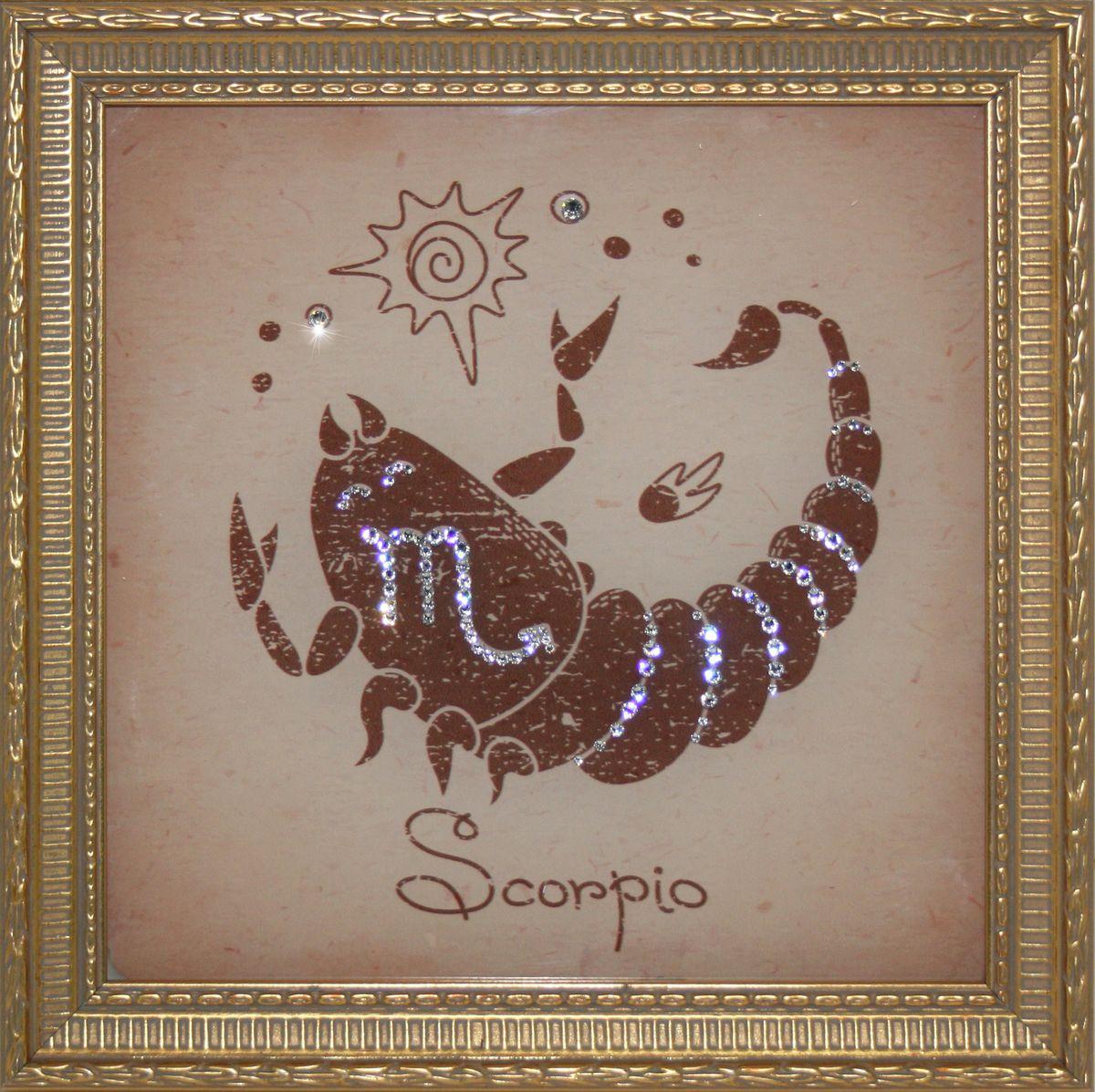 1708 Картина СваровскиСкорпион Малый1708Картина в багете, инкрустированная кристалами сваровски