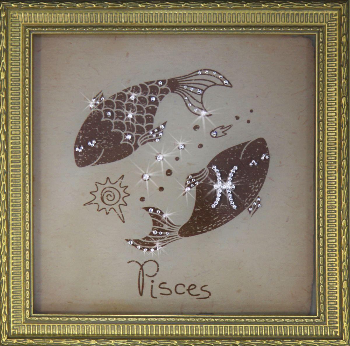 1712 Картина Сваровски Рыбы малые1712Картина в багете, инкрустированная кристалами сваровски