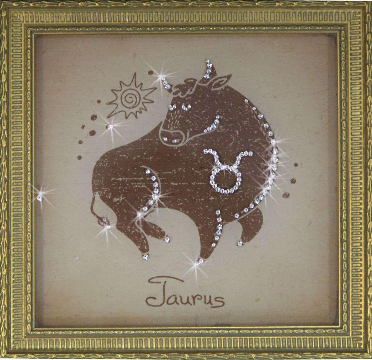 1714 Картина СваровскиТелец малый1714Картина в багете, инкрустированная кристалами сваровски