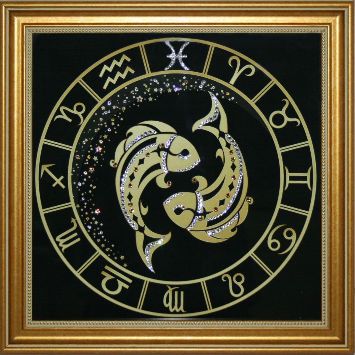 1717 Картина СваровскиРыбы Золото1717Картина в багете, инкрустированная кристалами сваровски