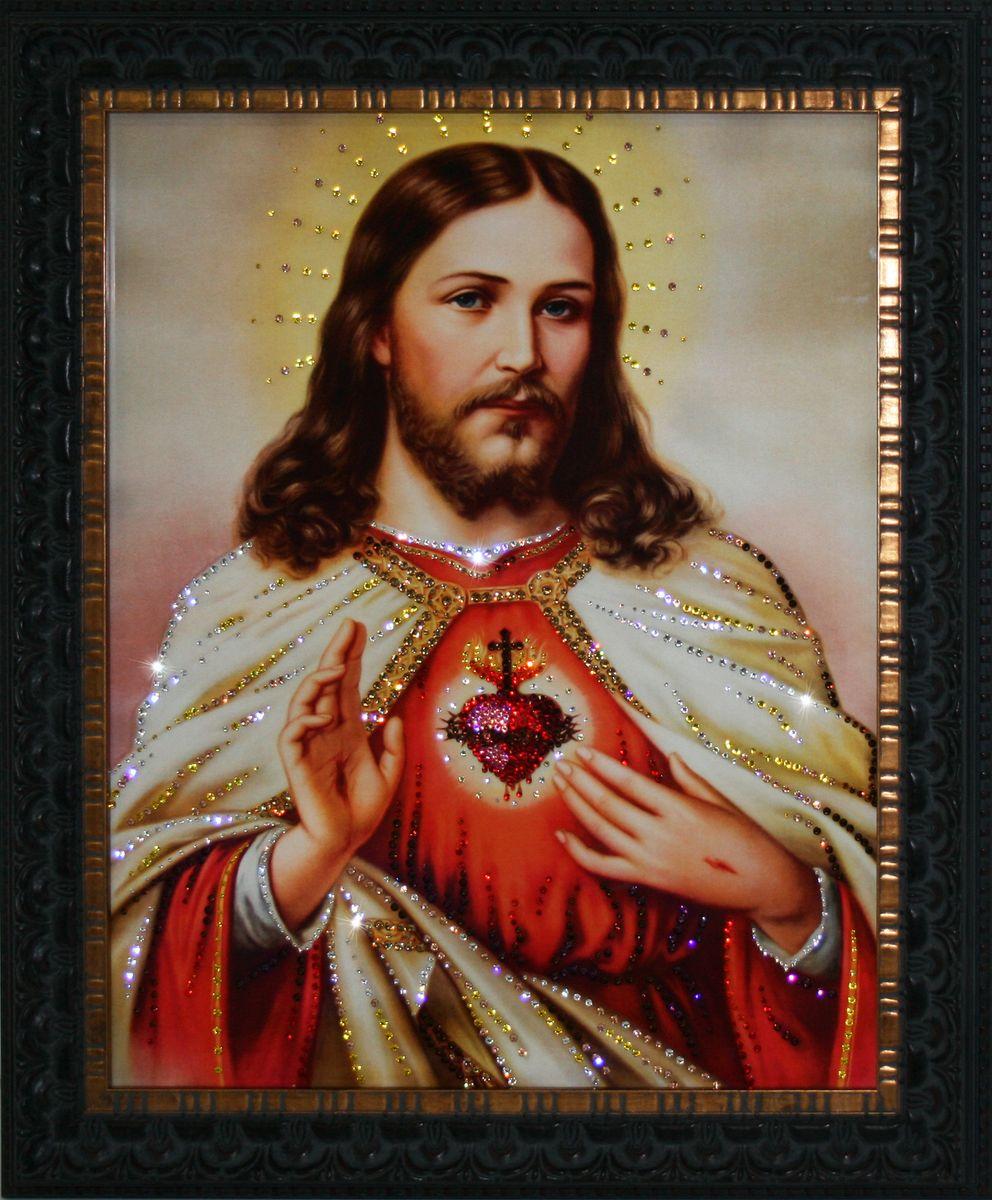1720 Картина Сваровски Сердце Христа1720Картина в багете, инкрустированная кристалами сваровски