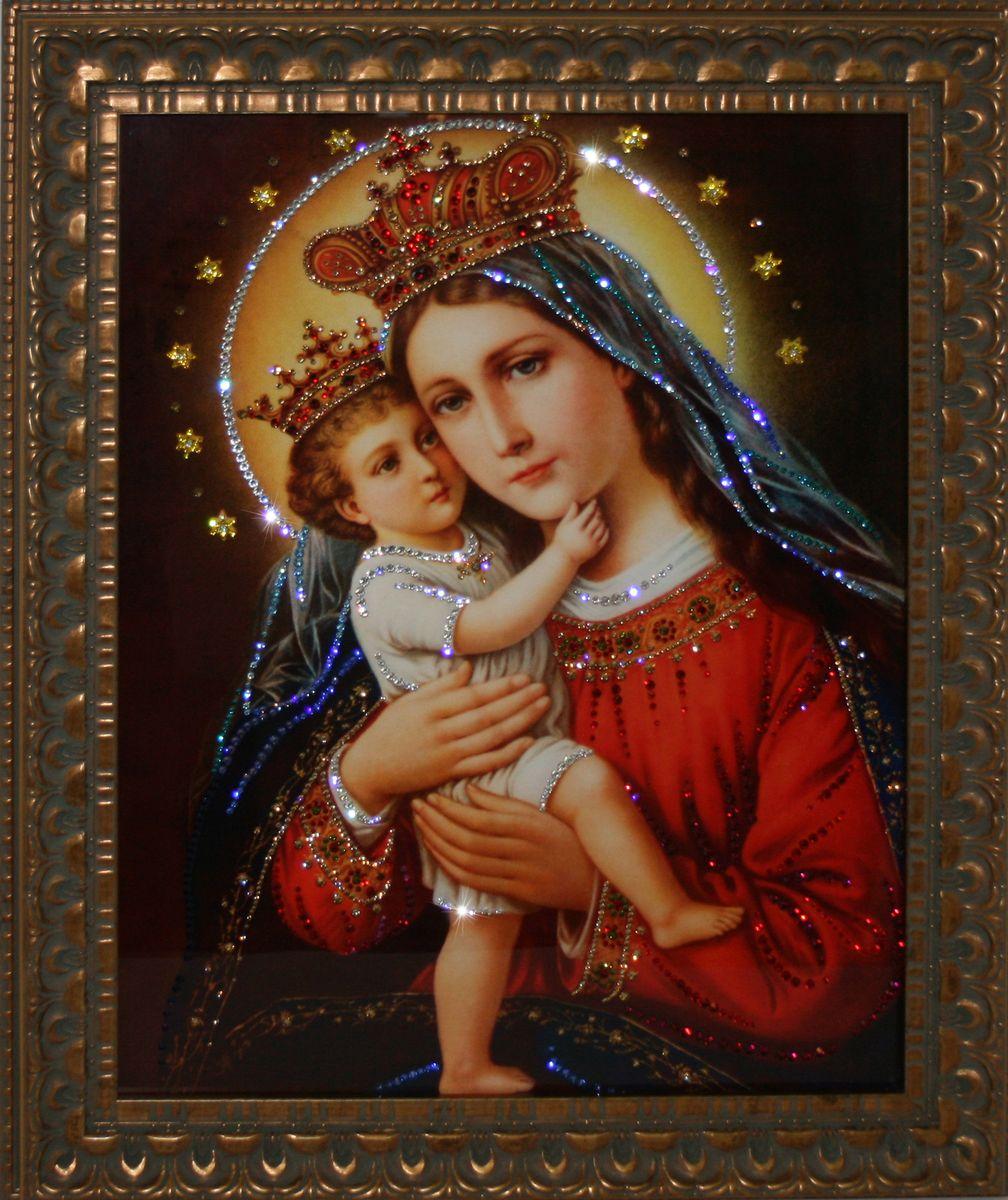 1721 Картина СваровскиМадонна1721Картина в багете, инкрустированная кристалами сваровски
