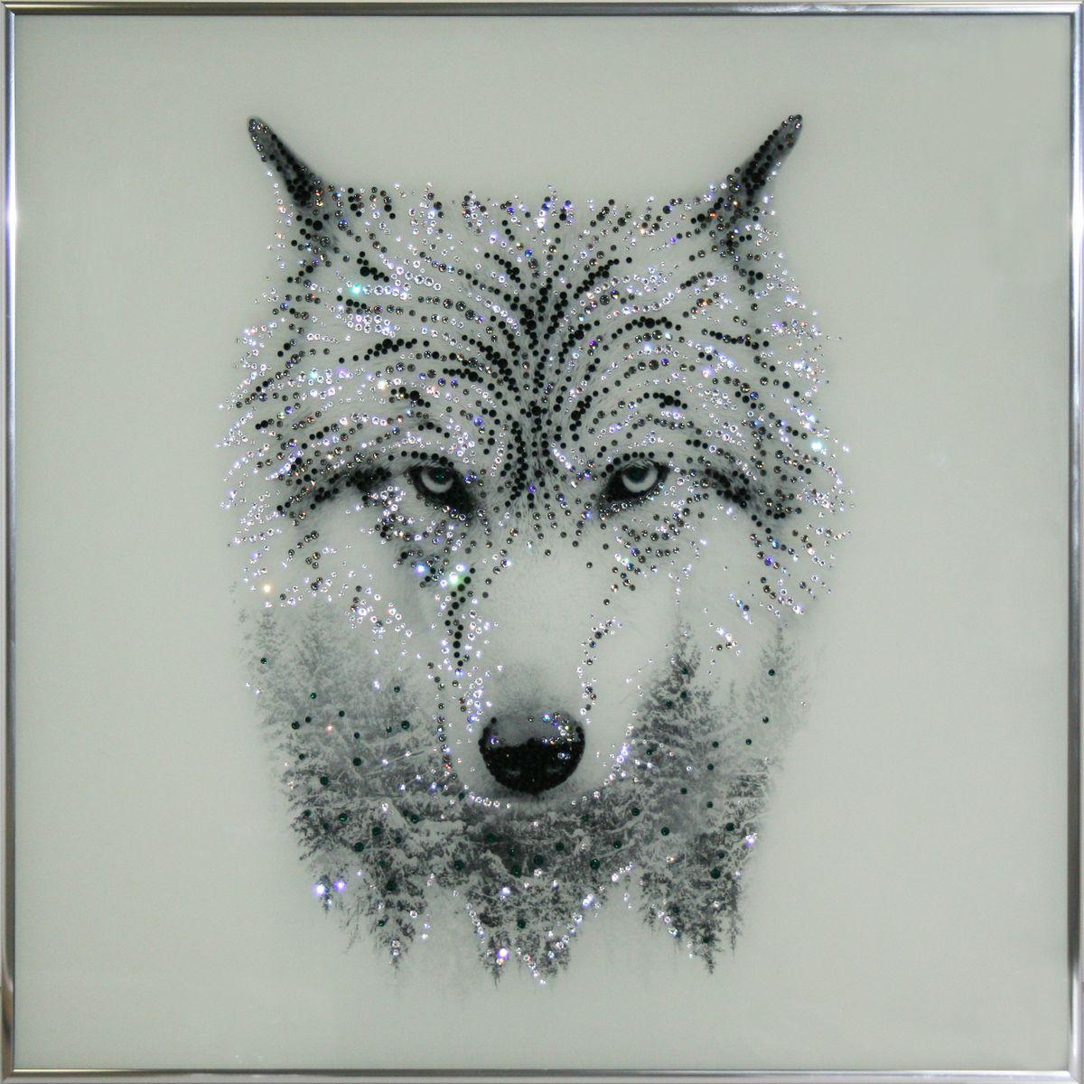 1724 Картина СваровскиТаёжный волк1724Картина в багете, инкрустированная кристалами сваровски