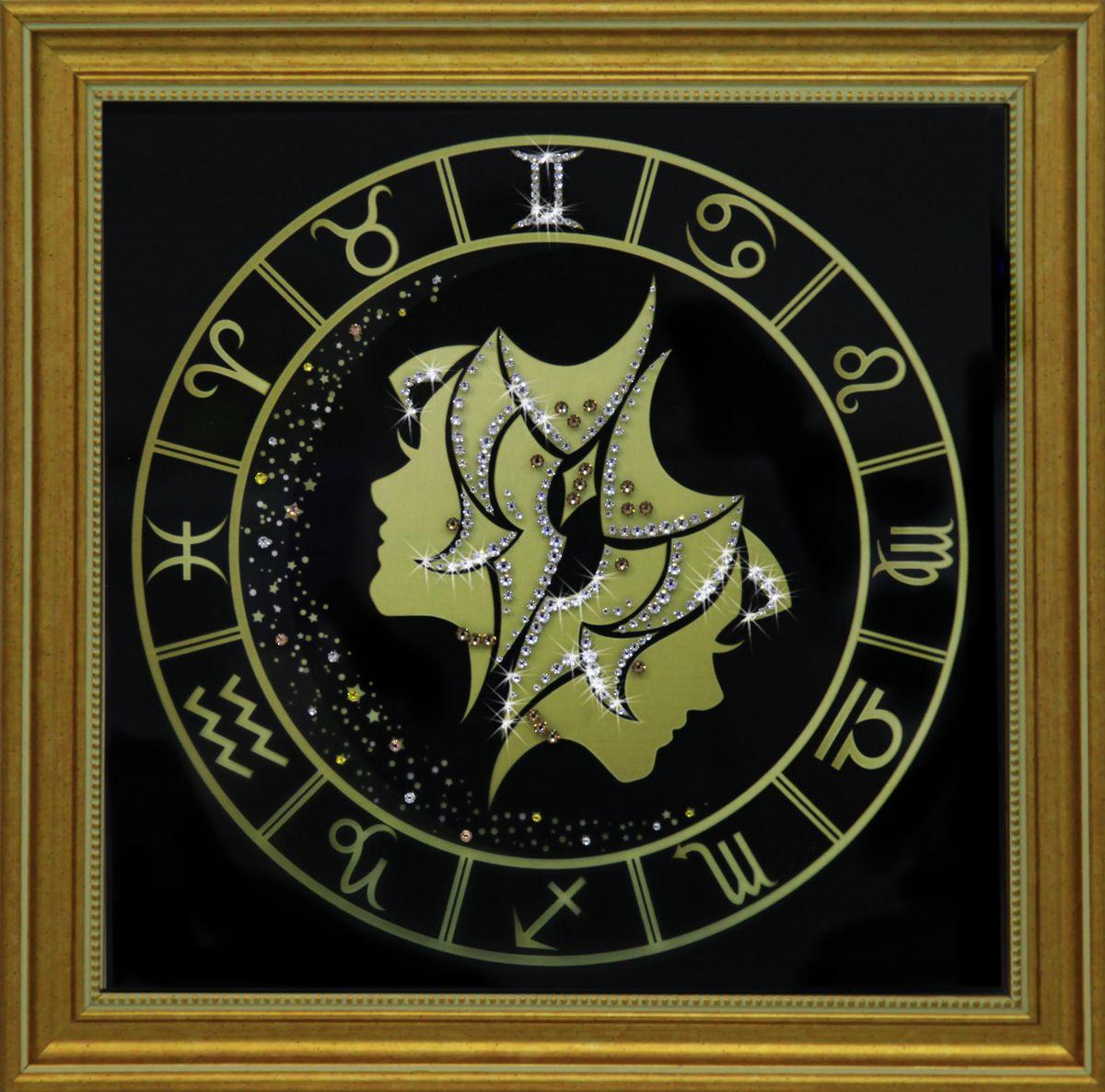 1725 Картина СваровскиБлизнецы золото1725Картина в багете, инкрустированная кристалами сваровски