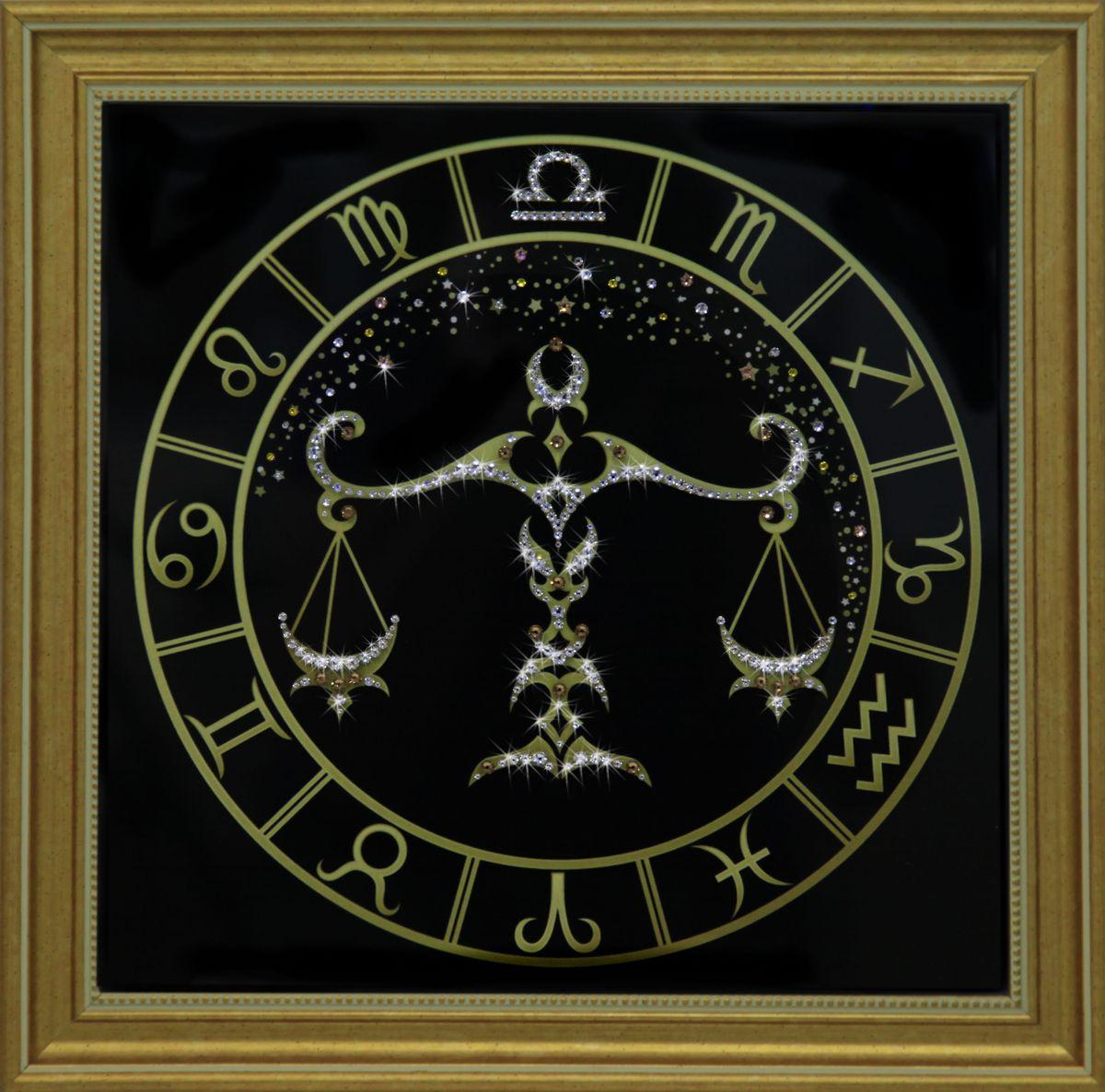 1726 Картина Сваровски Весы золото1726Картина в багете, инкрустированная кристалами сваровски