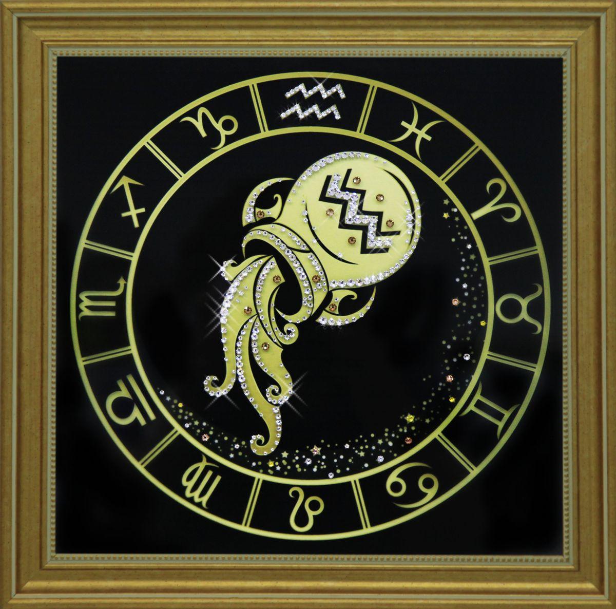 1727 Картина СваровскиВодолей золото1727Картина в багете, инкрустированная кристалами сваровски