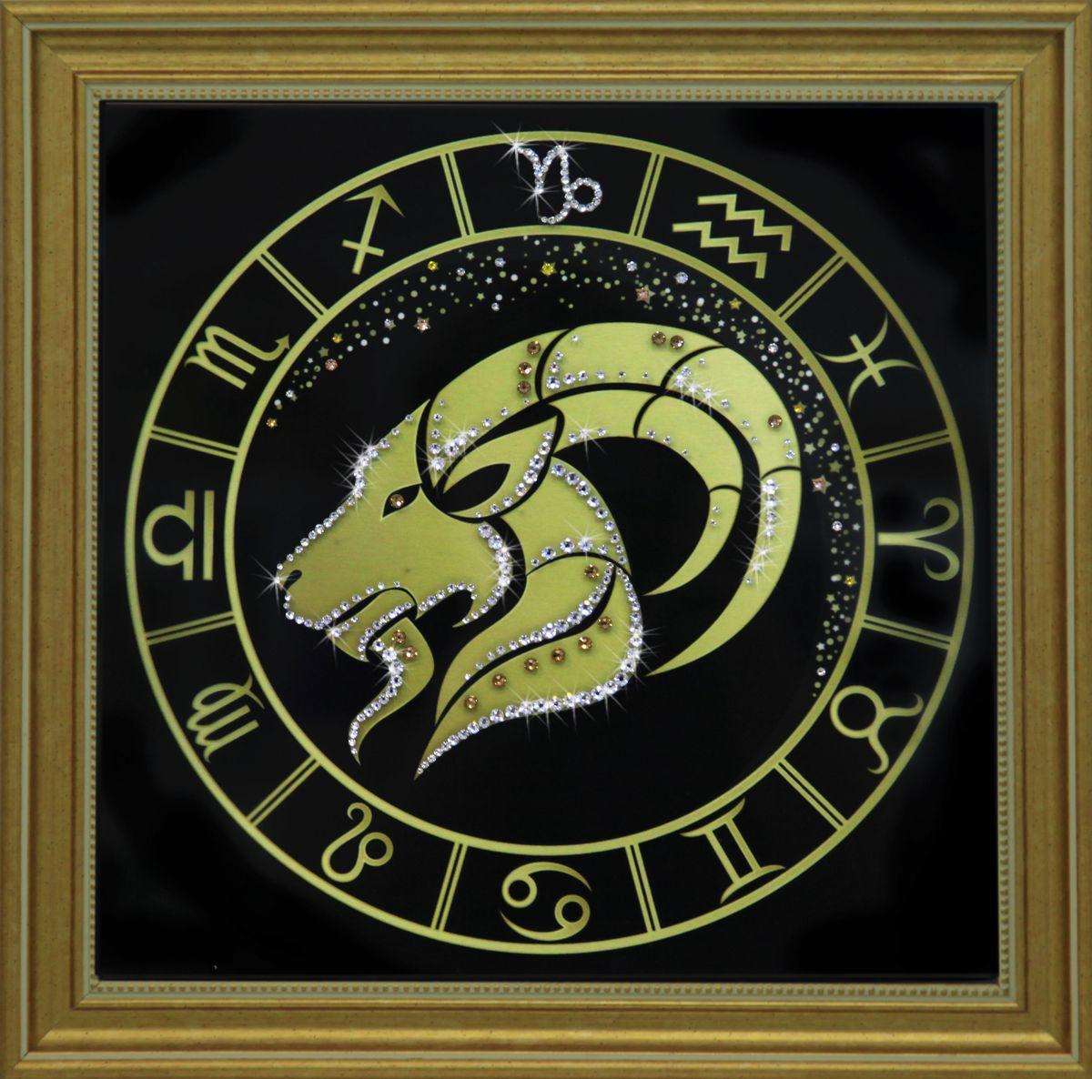 1729 Картина СваровскиКозерог золото1729Картина в багете, инкрустированная кристалами сваровски