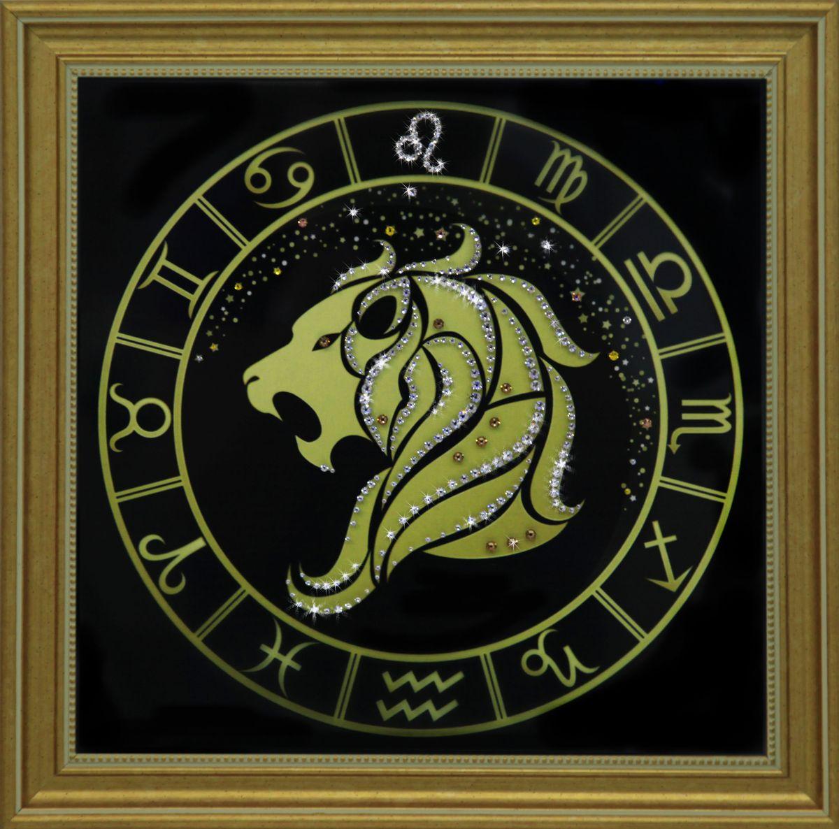 1730 Картина СваровскиЛев золото1730Картина в багете, инкрустированная кристалами сваровски
