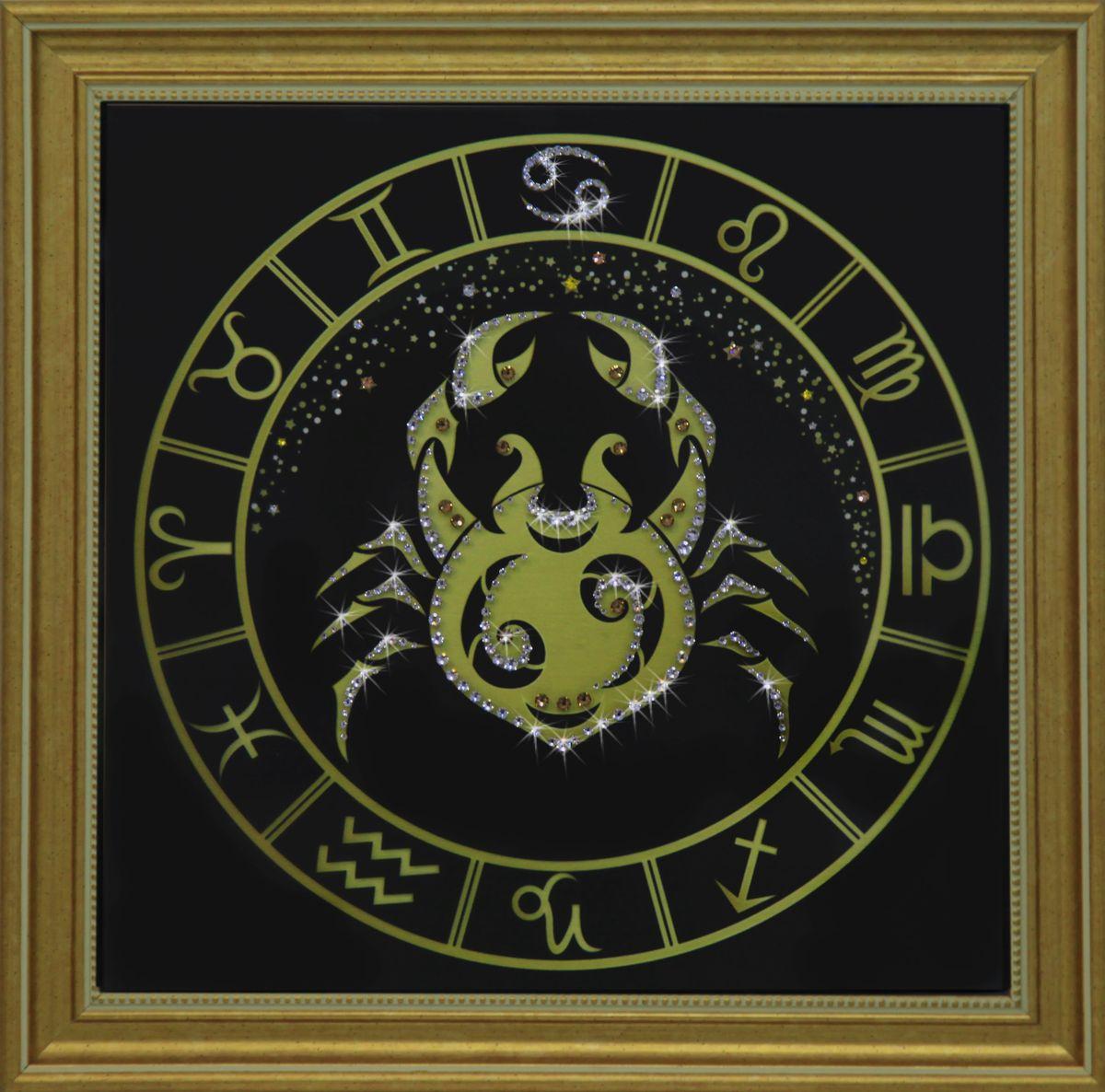 1732 Картина СваровскиРак золото1732Картина в багете, инкрустированная кристалами сваровски