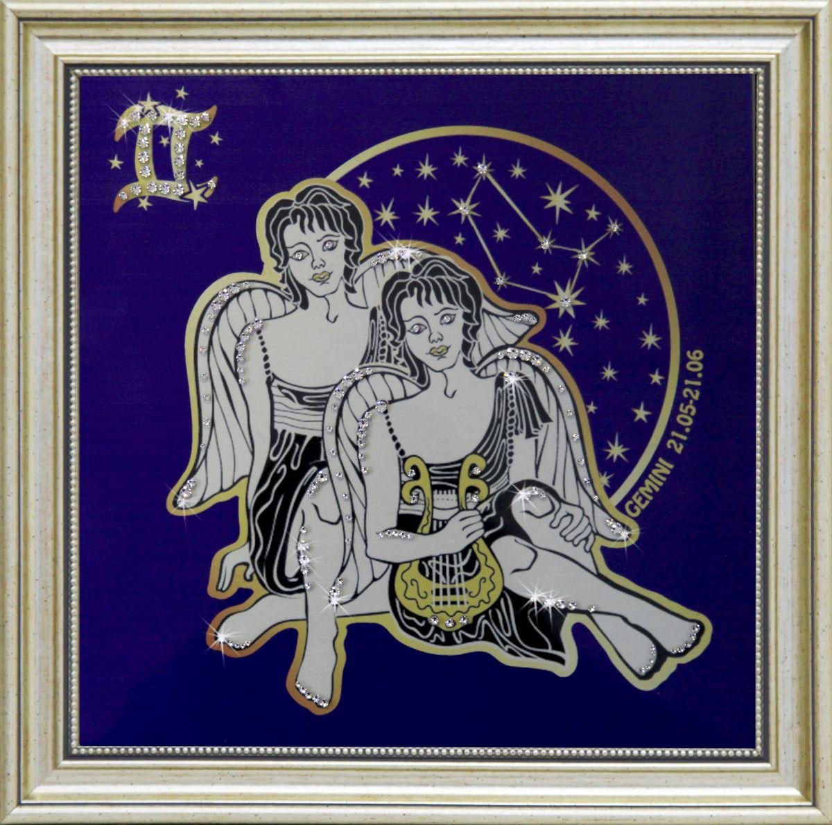 1735 Картина СваровскиЗвездные близнецы1735Картина в багете, инкрустированная кристалами сваровски