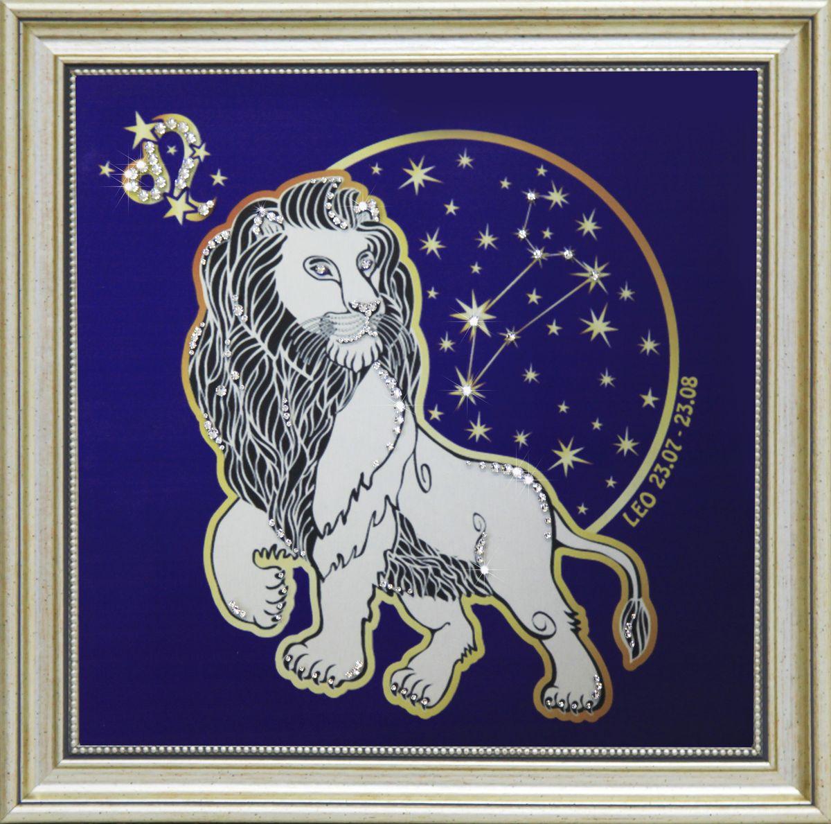 1737 Картина Сваровски Звездный Лев1737Картина в багете, инкрустированная кристалами сваровски