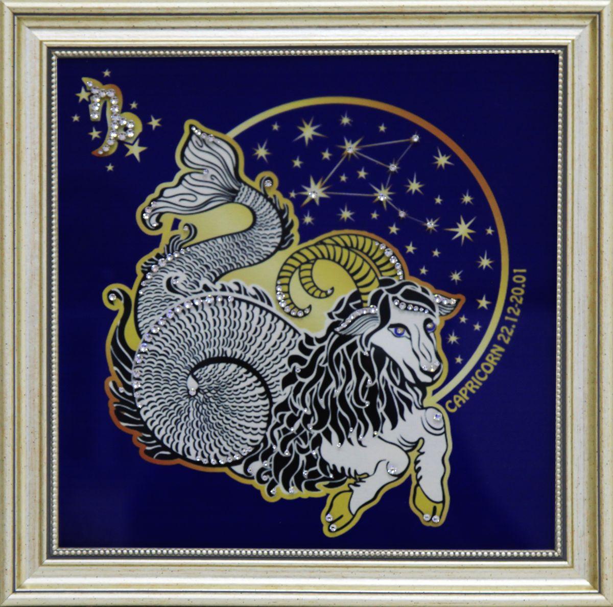 1742 Картина СваровскиЗвездный Козерог1742Картина в багете, инкрустированная кристалами сваровски
