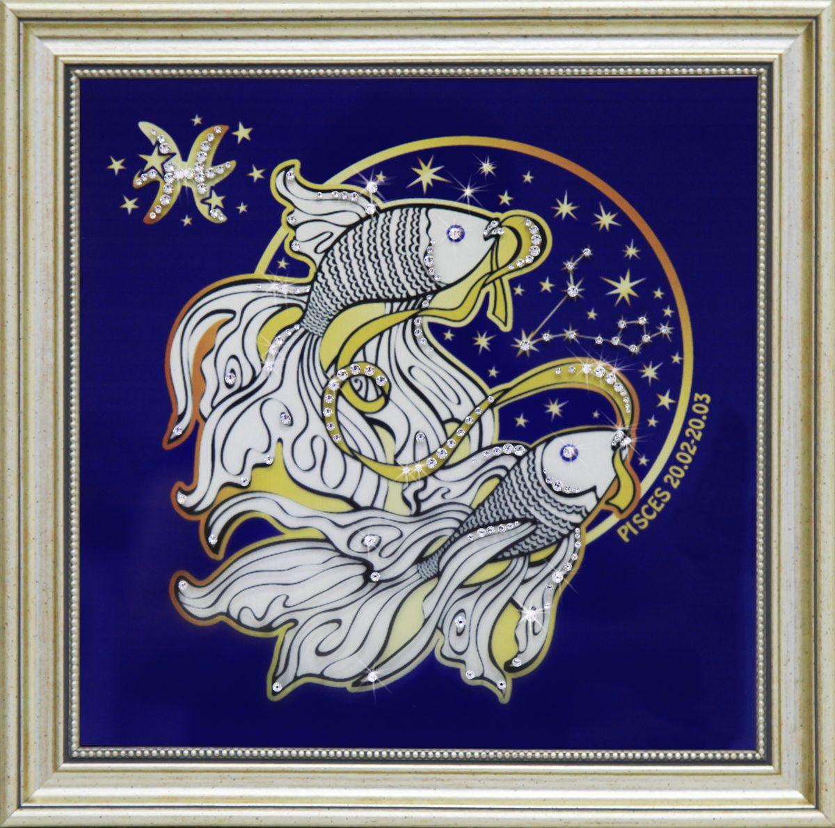 1744 Картина СваровскиЗвездные Рыбы1744Картина в багете, инкрустированная кристалами сваровски