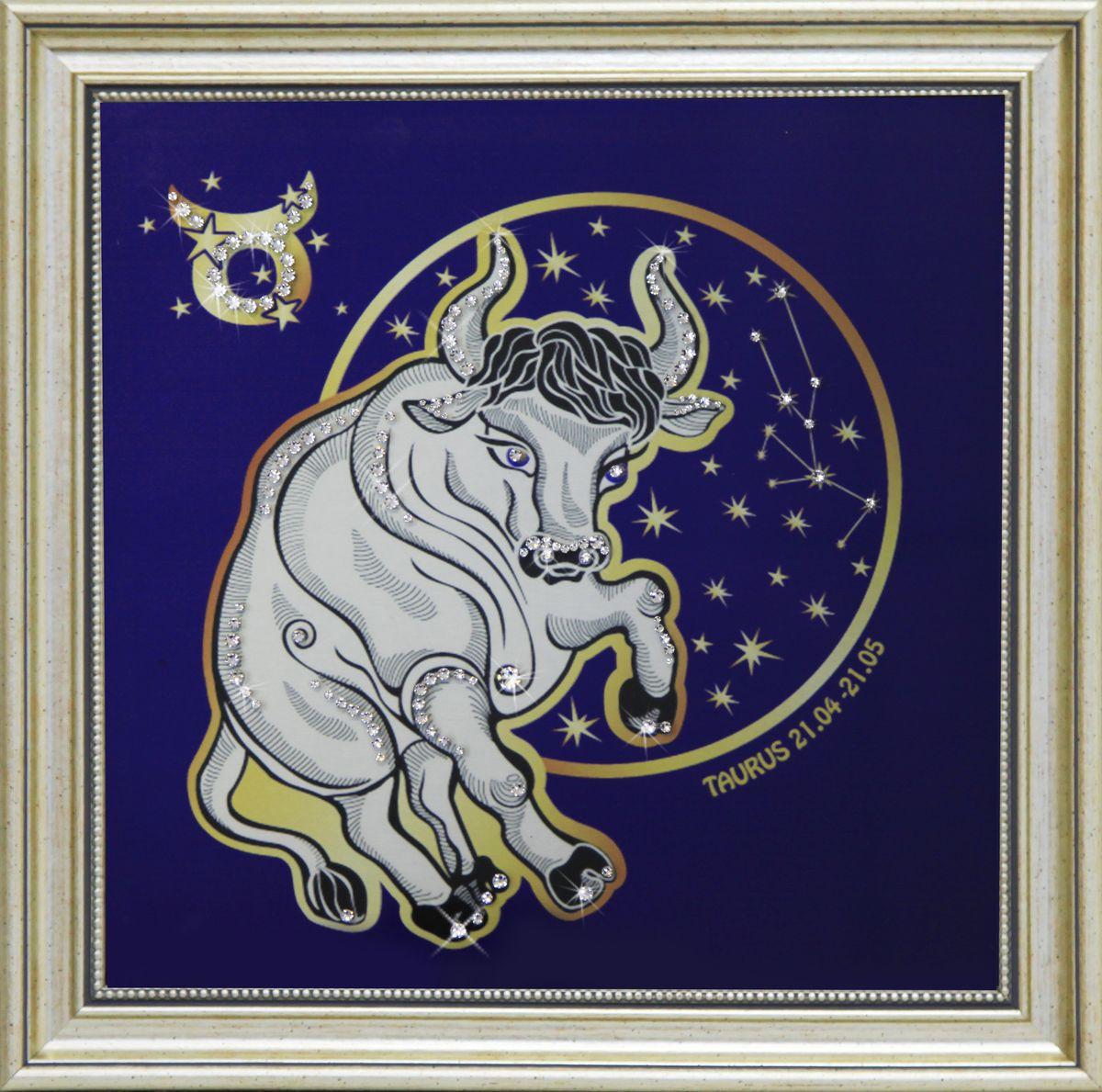 1746 Картина СваровскиЗвездный телец1746Картина в багете, инкрустированная кристалами сваровски