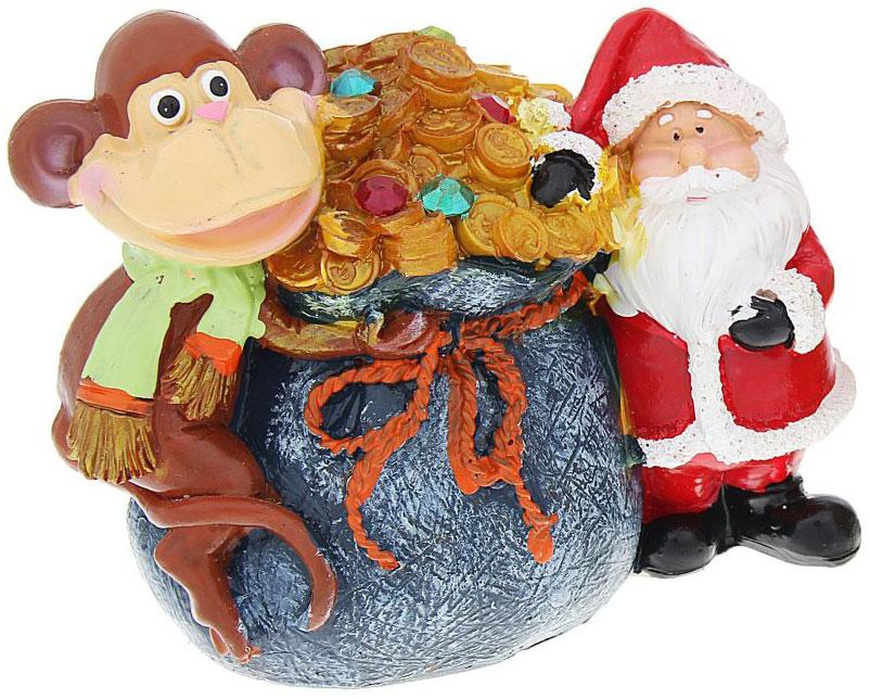Копилка полистоун Мартышка и Дед Мороз с мешком денег, цвет: синий, 10х12,5х7,5 см 10573791057379_синий