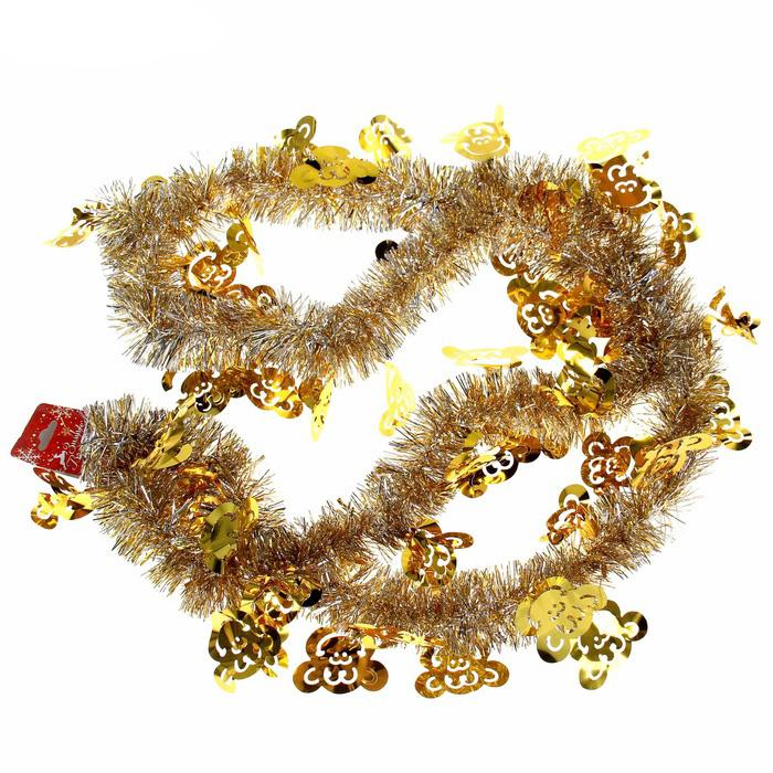 """Мишура новогодняя Sima-land """"Обезьяна"""", выполненная из фольги с фигурками обезьян, поможет вам украсить  свой дом к предстоящим праздникам. Мишура армированная и способна сохранять приданную  ей форму. Новогодней мишурой можно украсить все, что угодно - елку, квартиру, дачу, офис - как внутри, так и снаружи.  Можно сложить новогодние поздравления, буквы и цифры, мишурой можно украсить и дополнить гирлянды, можно  выделить дверные колонны, оплести дверные проемы.  Мишура принесет в ваш дом ни с чем не сравнимое ощущение праздника! Создайте в своем доме атмосферу тепла,  веселья и радости, украшая его всей семьей."""