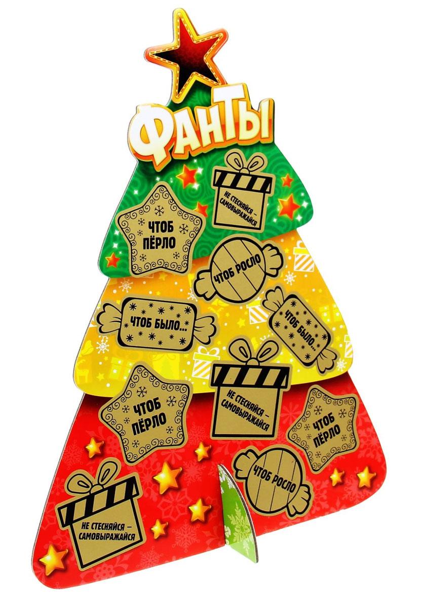 Украшение новогоднее Sima-land Фанты, со скретч-слоем, 22,2 см х 28,6 см х 10 смKOCNL-EL107Украшение новогоднее Sima-land Фанты, изготовленное из картона, отличноподойдет для декорации вашего дома. Украшение выполнено в виде ели, которая собирается из двух частей крест-накрест. На деревце развешаны, словно игрушки, маленькие пожелания под скретч-слоем, который нужно стереть, когда часы пробьют двенадцать.Новогодние украшения всегда несут в себе волшебство и красоту праздника. Создайте в своемдоме атмосферу тепла, веселья и радости, украшая его всей семьей. Высота украшения: 28,6 см.