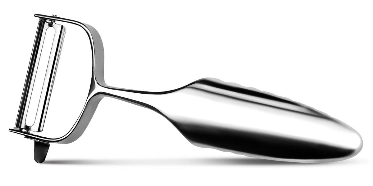 """Овощечистка """"Global"""" выполнена из лучшей нержавеющей стали фирменной марки """"Cromova"""". Очень удобная ручка не позволит выскользнуть овощечистке из вашей руки. Удобная овощечистка """"Global"""" поможет вам очень быстро и без особого усилия почистить овощи.  Не рекомендуется мыть в посудомоечной машине."""