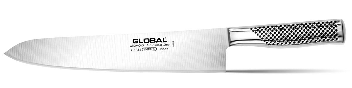 Нож кухонный Global, длина лезвия 27 смGF-34Нож Global имеет полностью обновленный эргономичный дизайн ручки, учитывающий положение большого пальца, что позволяет уменьшить усилия при резке. Отличительной чертой ножа Global является его рукоятка и уникальная бесшовная конструкция. Рукоятка и лезвие изготовлены из одного, цельного полотна нержавеющей стали, что делает такой нож максимально гигиеничным и прочным. На нем не скапливается грязь, и его очень легко мыть. Покрытие рукоятки специальными ямочками-впадинами, обеспечивает удобный и надежный захват.Еще одной важной отличительной характеристикой ножа является его идеальная балансировка. Полая ручка ножа заполнена песком, количество которого точно рассчитано, чтобы обеспечить наиболее оптимальное соотношение веса лезвия и рукоятки. Этот метод позволяет добиться максимально точной балансировки.Не рекомендуется использование в посудомоечной машине.