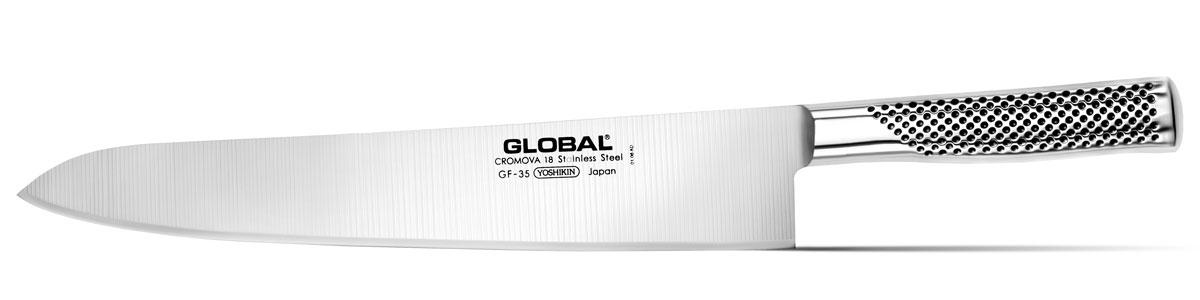 Нож кухонный Global, длина лезвия 30 смGF-35Кухонный нож Global изготовлен из высококачественной нержавеющей стали. Лезвие такого ножа остается острым очень долгое время, оно заточено и сформировано для максимально эффективного использования. Такой нож подойдет для нарезки любых овощей, мяса без костей, рыбы и других продуктов. Нож Global станет прекрасным дополнением к коллекции ваших кухонных аксессуаров и не займет много места при хранении. Рекомендуется мыть в ручную.