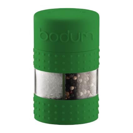 Мельница для соли и перца Bodum Bistro, цвет: зеленыйA11368-825-Y15Мельница для соли и перца Bodum Bistro, выполненная из прозрачного стекла и пластика, резины и металла, позволяет солить и перчить одновременно - это превосходное партнерство. В верхней части мельницы имеется силиконовая вставка. Мельница легка в использовании: одним поворотом силиконовой части мельницы приспособление переключается с солонки на перечницу, и вы сможете поперчить или добавить соль по своему вкусу в любое блюдо. Прочный керамический механизм позволяет молоть практически без усилий.Благодаря прозрачной конструкции легко определить, когда соль или перец заканчиваются.Оригинальная мельница модного дизайна будет отлично смотреться на вашей кухне.