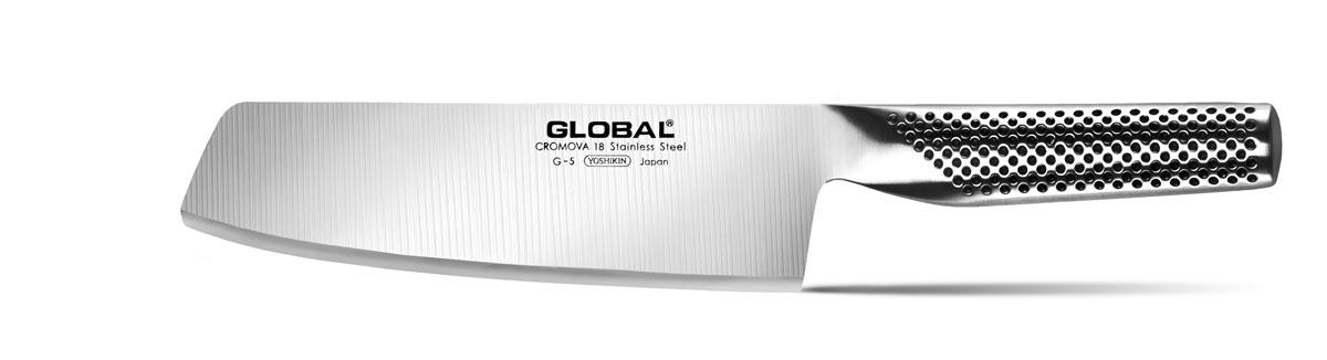 Нож для нарезки овощей Global, длина лезвия 18 см. G-5G-5Бренд Global выбор многих поваров со всего мира, ножи этого производителя известны своей универсальностью и исключительной ловкостью.Отличительной чертой японских ножей Global являются их рукоятки и уникальная бесшовная конструкция. Рукоятки и лезвия изготовлены из одного, цельного полотна нержавеющей стали, что делает ножи максимально гигиеничными и прочными. На них не скапливается грязь, и их очень легко мыть. Покрытие рукоятки специальными ямочками-впадинами, обеспечивает удобный и надежный захват.Лезвие изготовлено из специального материала Cromova 18 Sanso, который состоит из трех слоев нержавеющей стали (центрального и двух боковых). Центральный слой режущей поверхности сделан из нержавеющей стали Cromova 18 (хром, молибден, ванадий) с твердостью по шкале Роквелла 58-59 единиц и заточен к острому краю, что дает удивительные результаты при резке. Этот слой заключен между двумя боковыми слоями более мягкой нержавеющей стали SUS 410, что помогает защитить лезвие от скалывания и коррозии. Еще одной важной отличительной характеристикой ножа является его идеальная балансировка. Полая ручка ножа заполнена песком, количество которого точно рассчитано, чтобы обеспечить наиболее оптимальное соотношение веса лезвия и рукоятки. Этот метод позволяет добиться максимально точной балансировки.Не рекомендуется использование в посудомоечной машине.Общая длина ножа: 30 см.