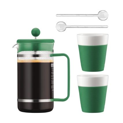 Набор кофейный Bodum Bistro, цвет: зеленый, белый, 5 предметов кофейник bodum brazil с прессом цвет белый 1 л