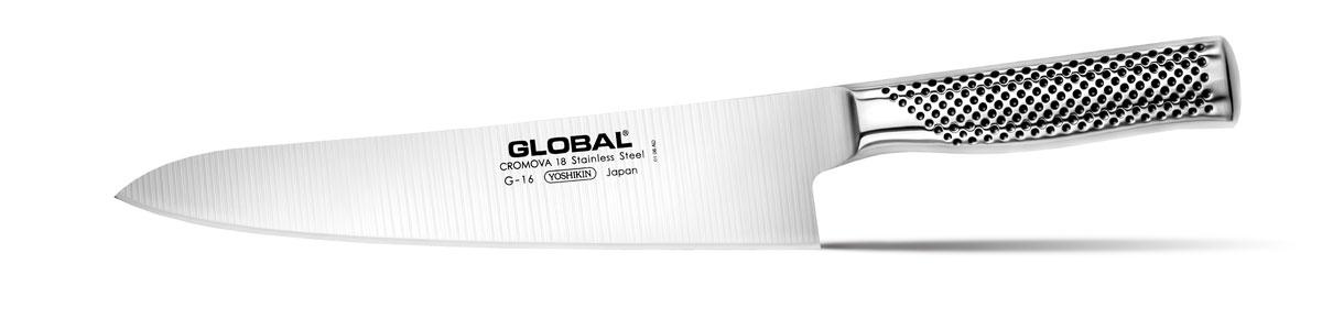 Нож кухонный Global, длина лезвия 24 смG-16Бренд Global выбор многих поваров со всего мира, ножи этого производителя известны своей универсальностью и исключительной ловкостью.Отличительной чертой японских ножей Global являются их рукоятки и уникальная бесшовная конструкция. Рукоятки и лезвия изготовлены из одного, цельного полотна нержавеющей стали, что делает ножи максимально гигиеничными и прочными. На них не скапливается грязь, и их очень легко мыть. Покрытие рукоятки специальными ямочками-впадинами, обеспечивает удобный и надежный захват.Лезвие изготовлено из специального материала Cromova 18 Sanso, который состоит из трех слоев нержавеющей стали (центрального и двух боковых). Центральный слой режущей поверхности сделан из нержавеющей стали Cromova 18 (хром, молибден, ванадий) с твердостью по шкале Роквелла 58-59 единиц и заточен к острому краю, что дает удивительные результаты при резке. Этот слой заключен между двумя боковыми слоями более мягкой нержавеющей стали SUS 410, что помогает защитить лезвие от скалывания и коррозии. Еще одной важной отличительной характеристикой ножа является его идеальная балансировка. Полая ручка ножа заполнена песком, количество которого точно рассчитано, чтобы обеспечить наиболее оптимальное соотношение веса лезвия и рукоятки. Этот метод позволяет добиться максимально точной балансировки.Не рекомендуется использование в посудомоечной машине.