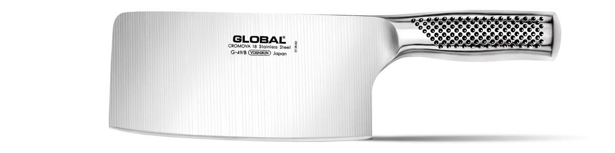 Нож для рубки овощей Global, длина лезвия 18 смG-49BБренд Global выбор многих поваров со всего мира, ножи этого производителя известны своей универсальностью и исключительной ловкостью.Отличительной чертой японских ножей Global являются их рукоятки и уникальная бесшовная конструкция. Рукоятки и лезвия изготовлены из одного, цельного полотна нержавеющей стали, что делает ножи максимально гигиеничными и прочными. На них не скапливается грязь, и их очень легко мыть. Покрытие рукоятки специальными ямочками-впадинами, обеспечивает удобный и надежный захват.Лезвие изготовлено из специального материала Cromova 18 Sanso, который состоит из трех слоев нержавеющей стали (центрального и двух боковых). Центральный слой режущей поверхности сделан из нержавеющей стали Cromova 18 (хром, молибден, ванадий) с твердостью по шкале Роквелла 58-59 единиц и заточен к острому краю, что дает удивительные результаты при резке. Этот слой заключен между двумя боковыми слоями более мягкой нержавеющей стали SUS 410, что помогает защитить лезвие от скалывания и коррозии. Еще одной важной отличительной характеристикой ножа является его идеальная балансировка. Полая ручка ножа заполнена песком, количество которого точно рассчитано, чтобы обеспечить наиболее оптимальное соотношение веса лезвия и рукоятки. Этот метод позволяет добиться максимально точной балансировки.Не рекомендуется использование в посудомоечной машине.