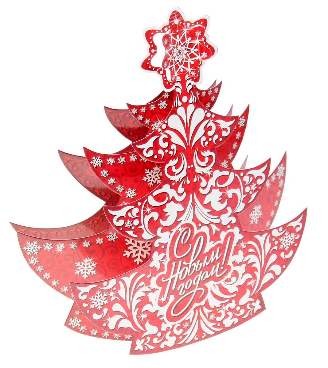 Новогоднее украшение на стену Sima-land Елка. С Новым годом!, 28 х 30 см кармашки на стену для бани sima land банные мелочи цвет белый 3 шт