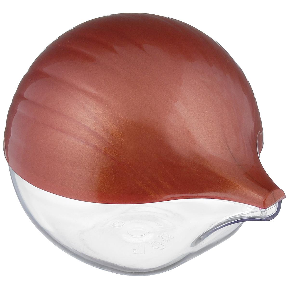 """Емкость для хранения репчатого лука """"Альтернатива"""", изготовленная из пластика с  полупрозрачной  крышкой, дольше сохранит полезные свойства разрезанного лука, предотвратит  распространение запаха и сбережет лук от высыхания.  Оригинальный дизайн контейнера, выполненного в виде луковицы, украсит ваш кухонный  стол."""