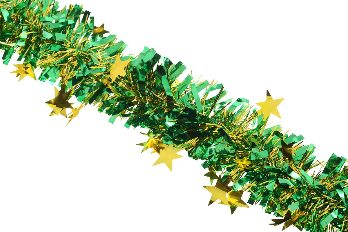 Мишура новогодняя Sima-land, цвет: золотистый, зеленый, диаметр 9 см, длина 200 см. 706595706595_золотистый, зеленыйНовогодняя мишура Sima-land, выполненная из фольги с дизайном в виде звездочек, поможет вам украсить свой дом к предстоящим праздникам. А новогодняя елка с таким украшением станет еще наряднее. Мишура армирована, то есть имеет проволоку внутри и способна сохранять приданную ей форму. Новогодней мишурой можно украсить все, что угодно - елку, квартиру, дачу, офис - как внутри, так и снаружи. Можно сложить новогодние поздравления, буквы и цифры, мишурой можно украсить и дополнить гирлянды, можно выделить дверные колонны, оплести дверные проемы. Коллекция декоративных украшений из серии Зимнее волшебство принесет в ваш дом ни с чем несравнимое ощущение праздника! Создайте в своем доме атмосферу тепла, веселья и радости, украшая его всей семьей.