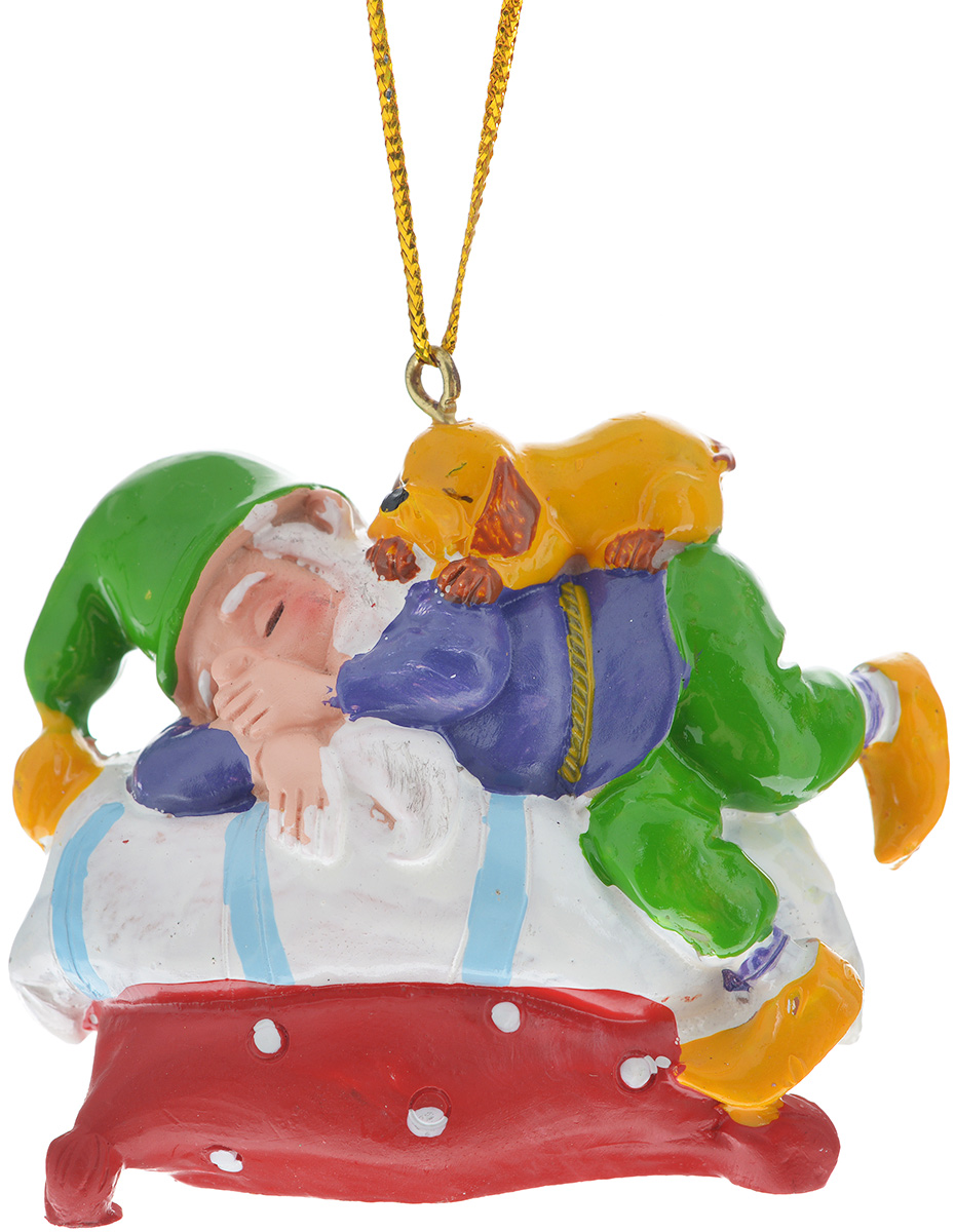 Новогоднее подвесное украшение Феникс-презент Сонный гном38978Новогоднее украшение Феникс-презент Сонный гном, изготовленное из высококачественного полирезина, прекрасно подойдет для праздничного декора дома и новогодней ели. Изделие выполнено в виде гнома, спящего на кровати. С помощью специальной текстильной петельки его можно повесить в любом понравившемся вам месте. Но, конечно, удачнее всего такая игрушка будет смотреться на праздничной елке. Елочная игрушка - символ Нового года. Она несет в себе волшебство и красоту праздника. Создайте в своем доме атмосферу веселья и радости, украшая новогоднюю елку нарядными игрушками, которые будут из года в год накапливать теплоту воспоминаний.